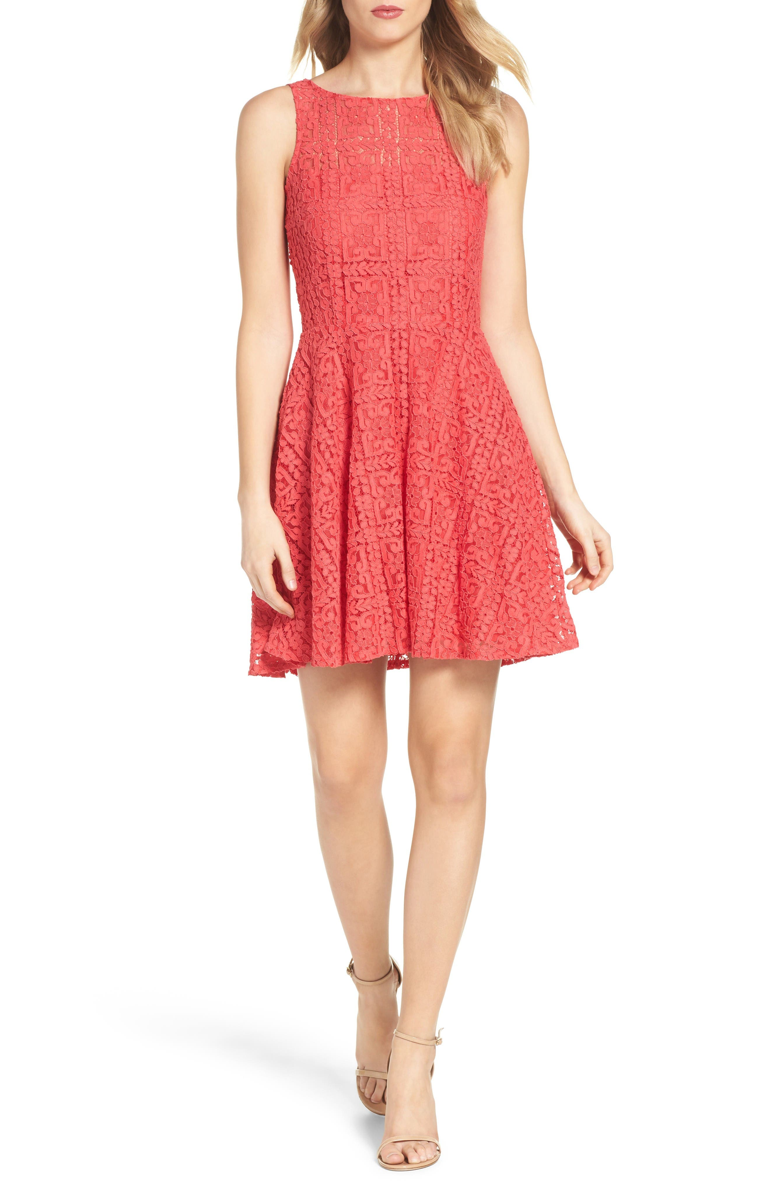 BB Dakota Paloma Lace Fit & Flare Dress