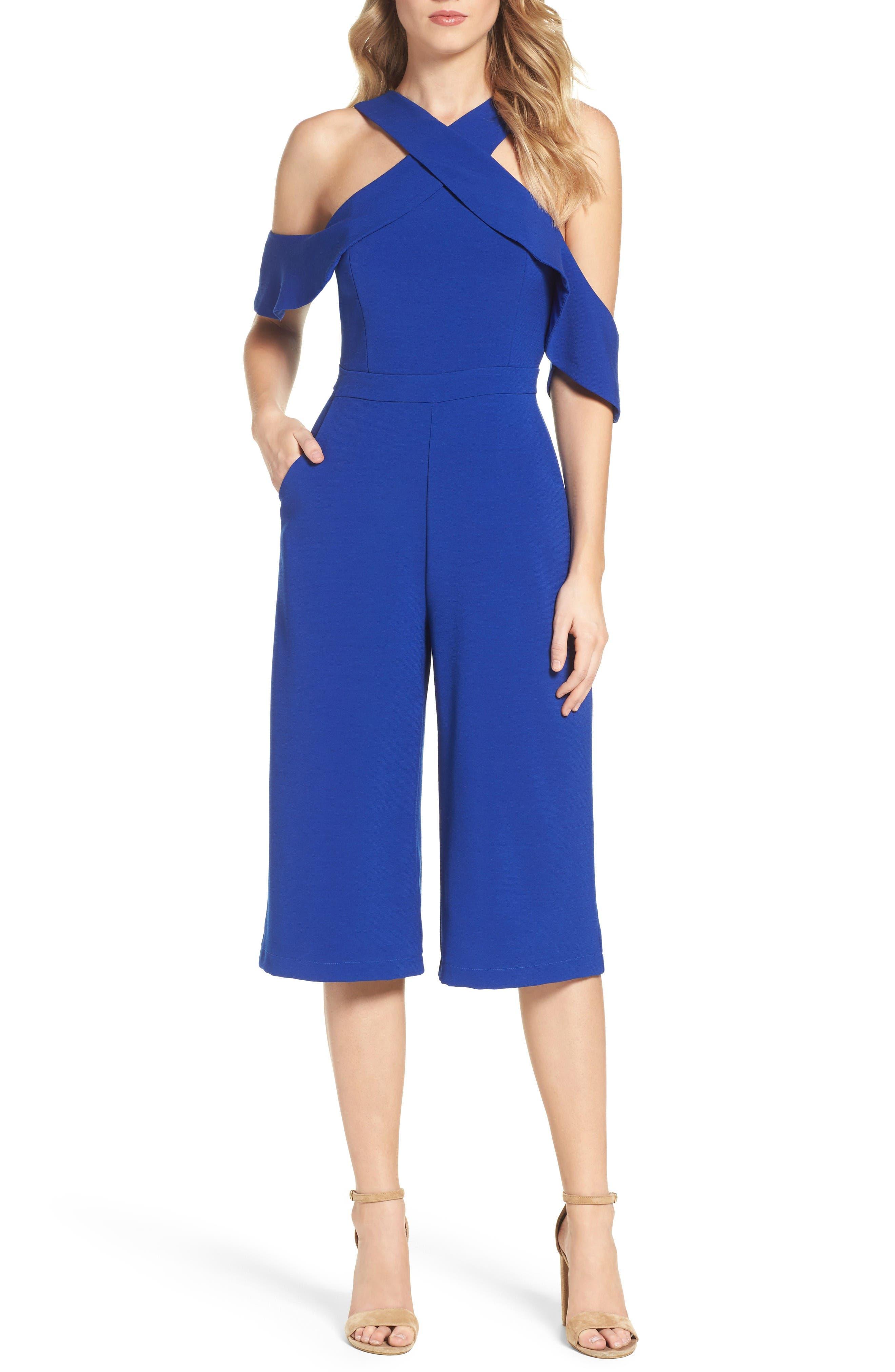 Adelyn Rae Cold Shoulder Culotte Jumpsuit