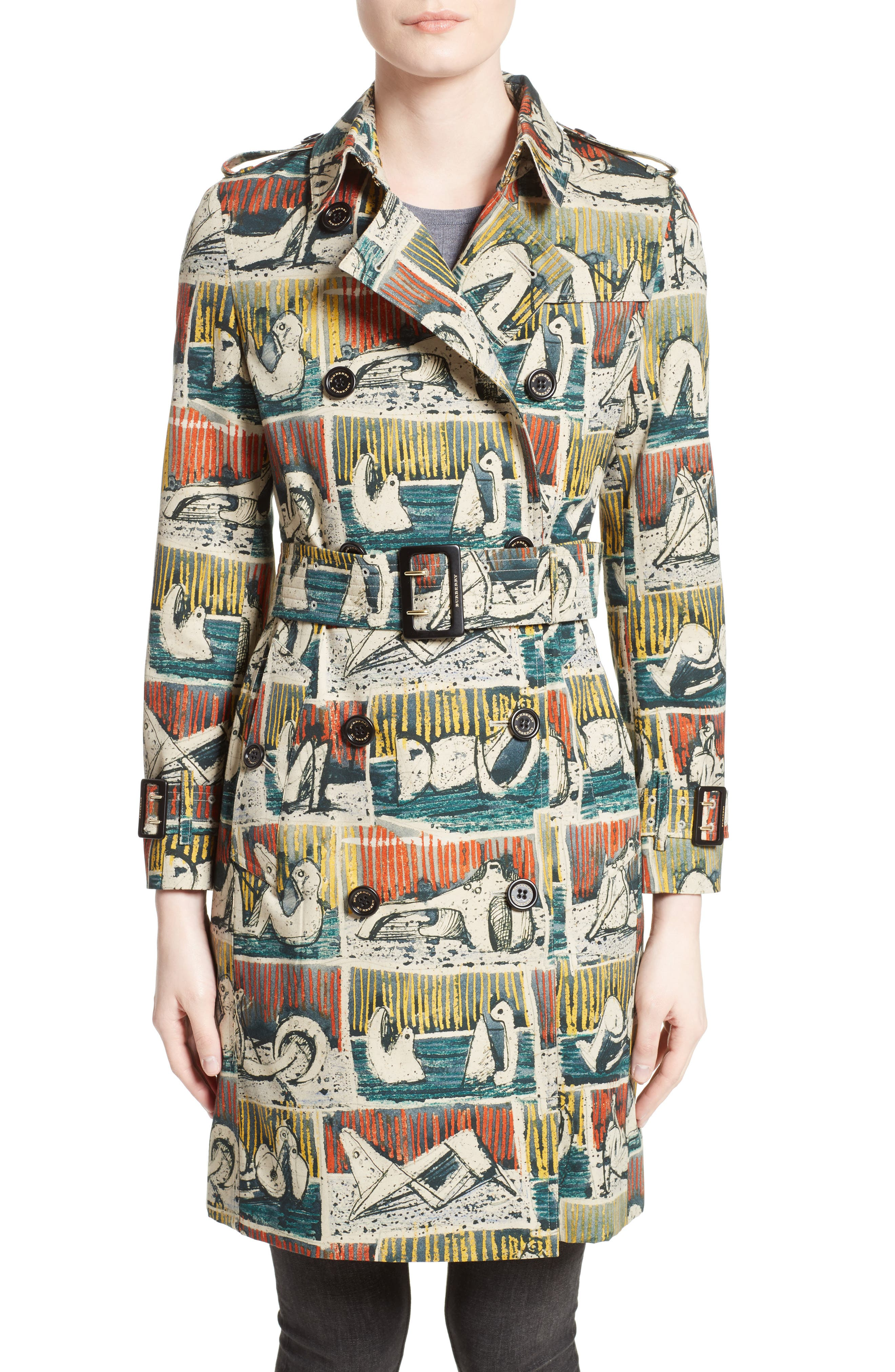 Burberry Kensington Reclining Figures Print Cotton Trench Coat