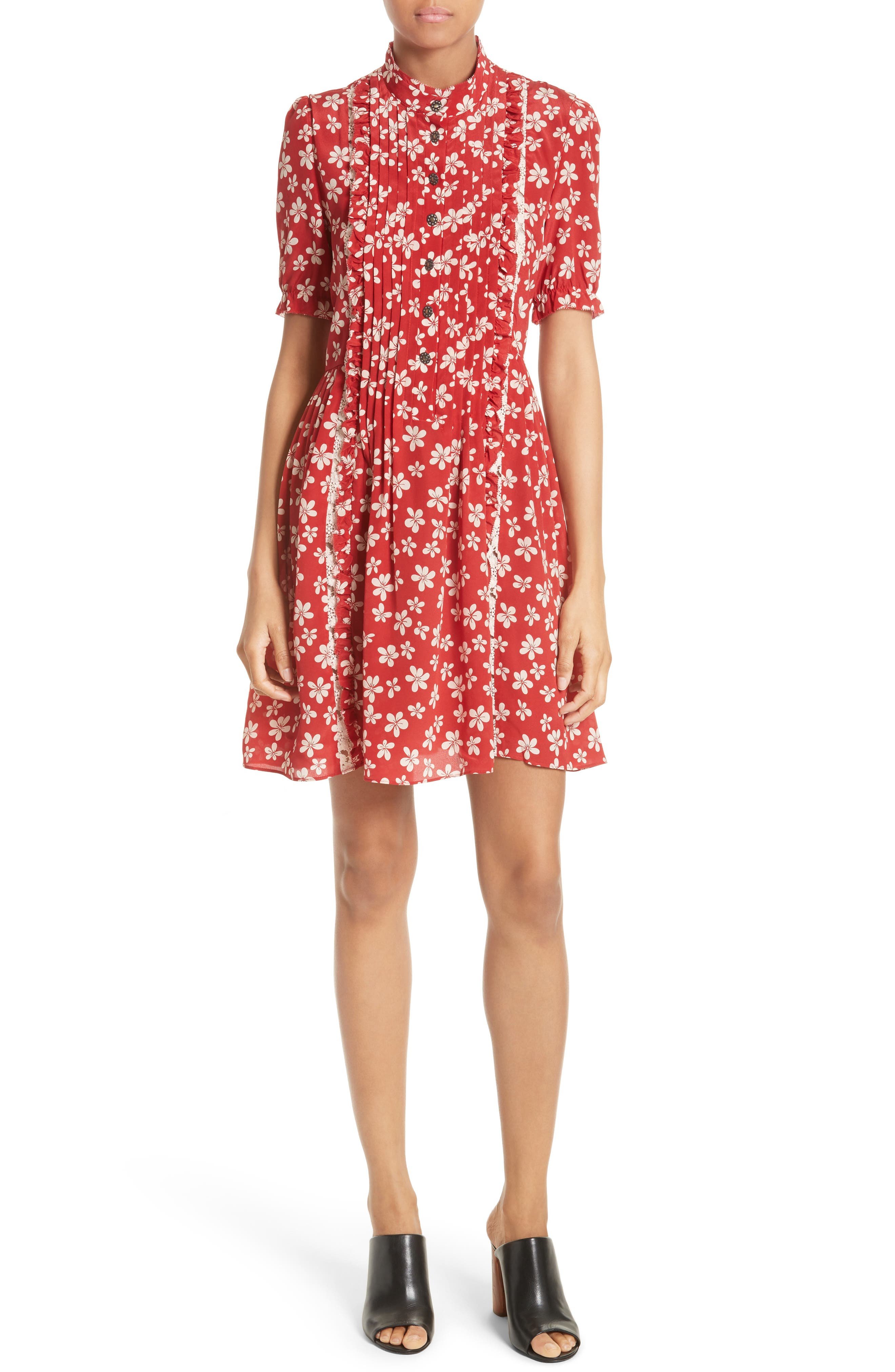 Alternate Image 1 Selected - The Kooples Floral Print Silk Dress