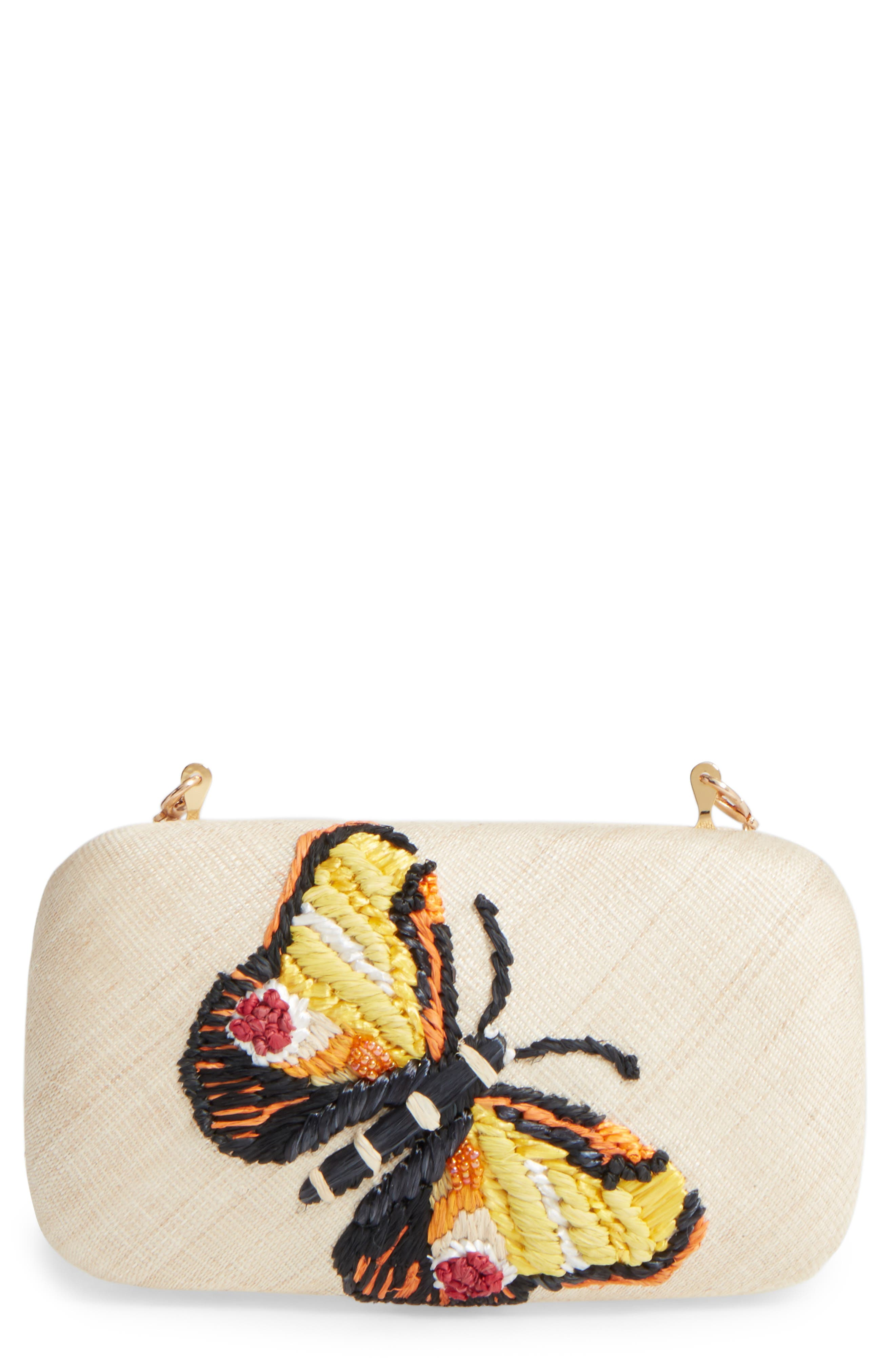 Main Image - Franchi Flutter Embroidered Butterfly Box Clutch