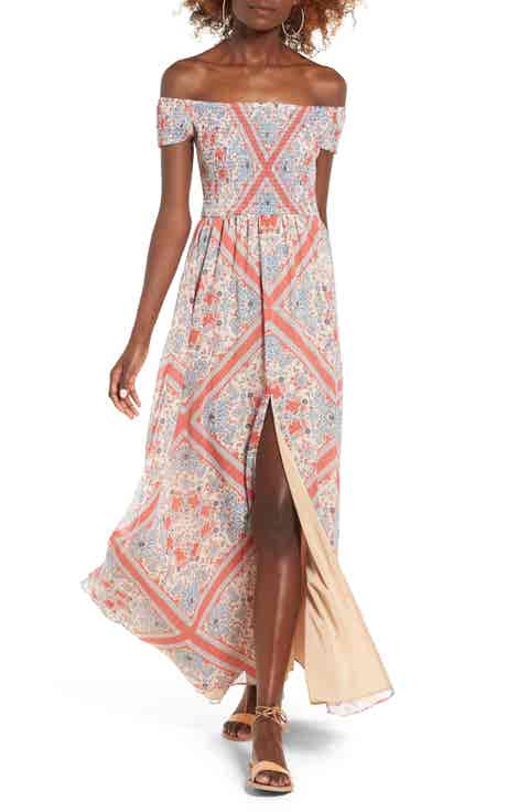 Tularosa Henderson Print Off the Shoulder Maxi Dress
