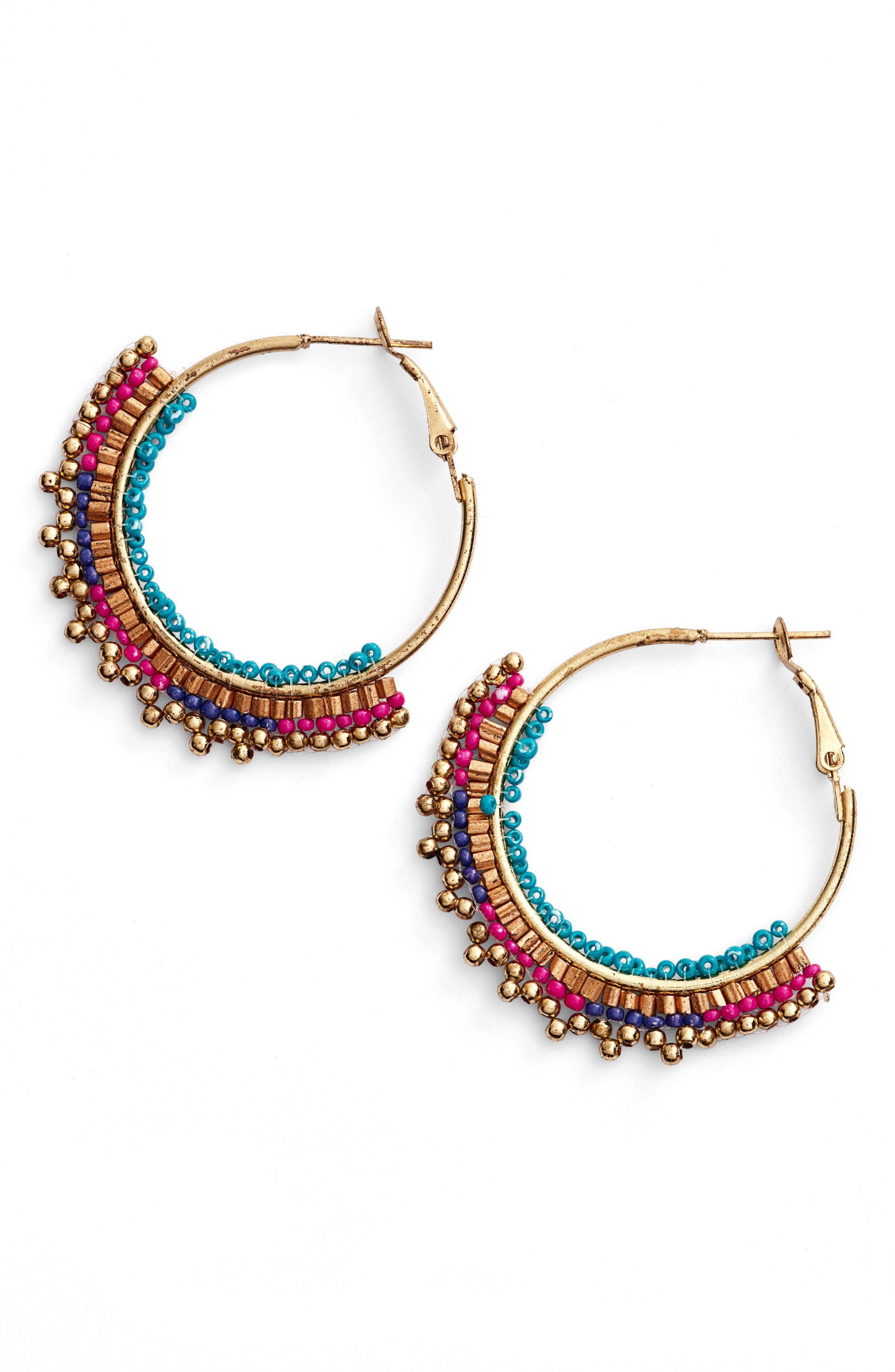 panacea beaded hoop earrings nordstrom