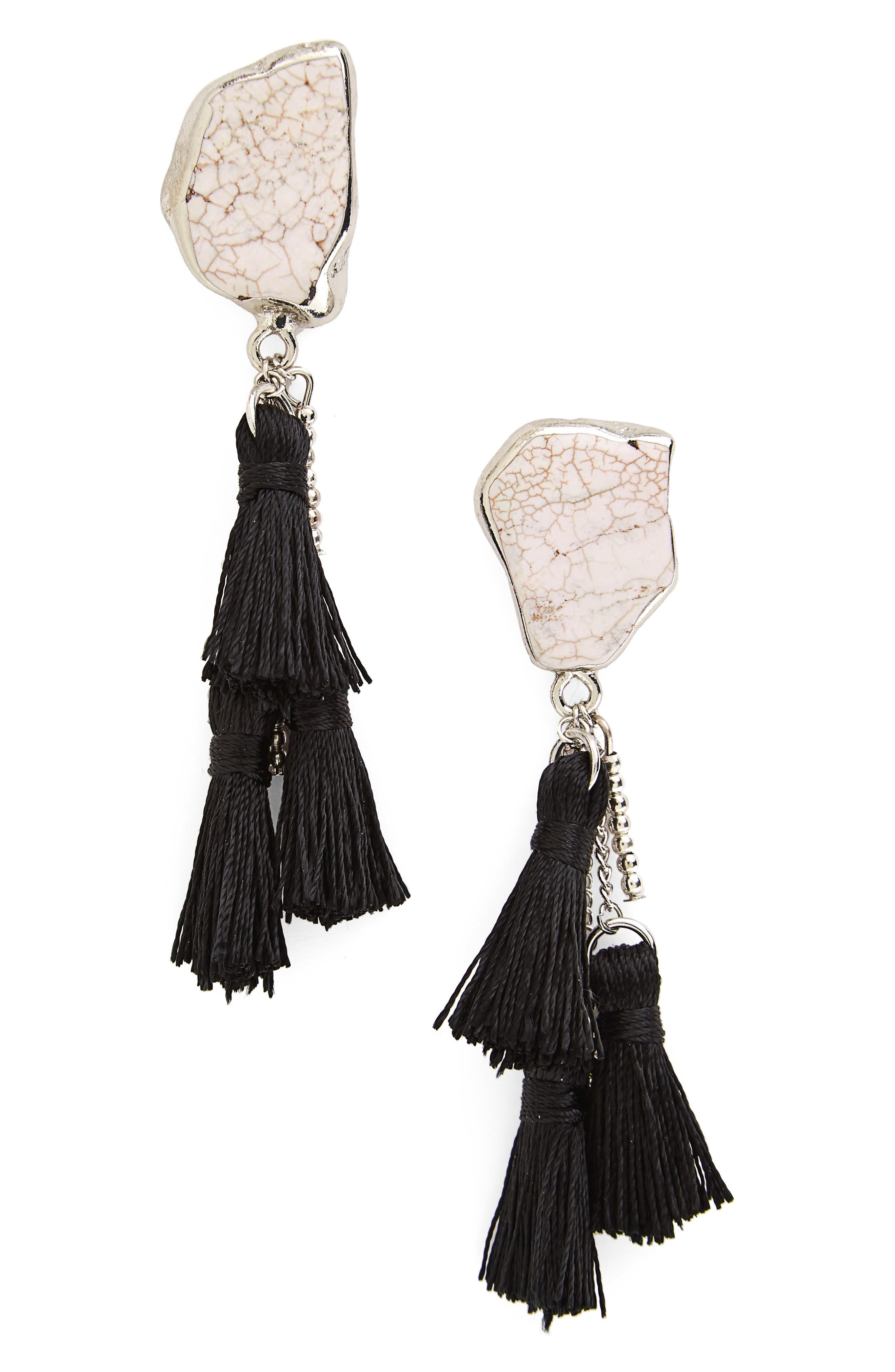 Main Image - Sole Society Stone Tassel Drop Earrings