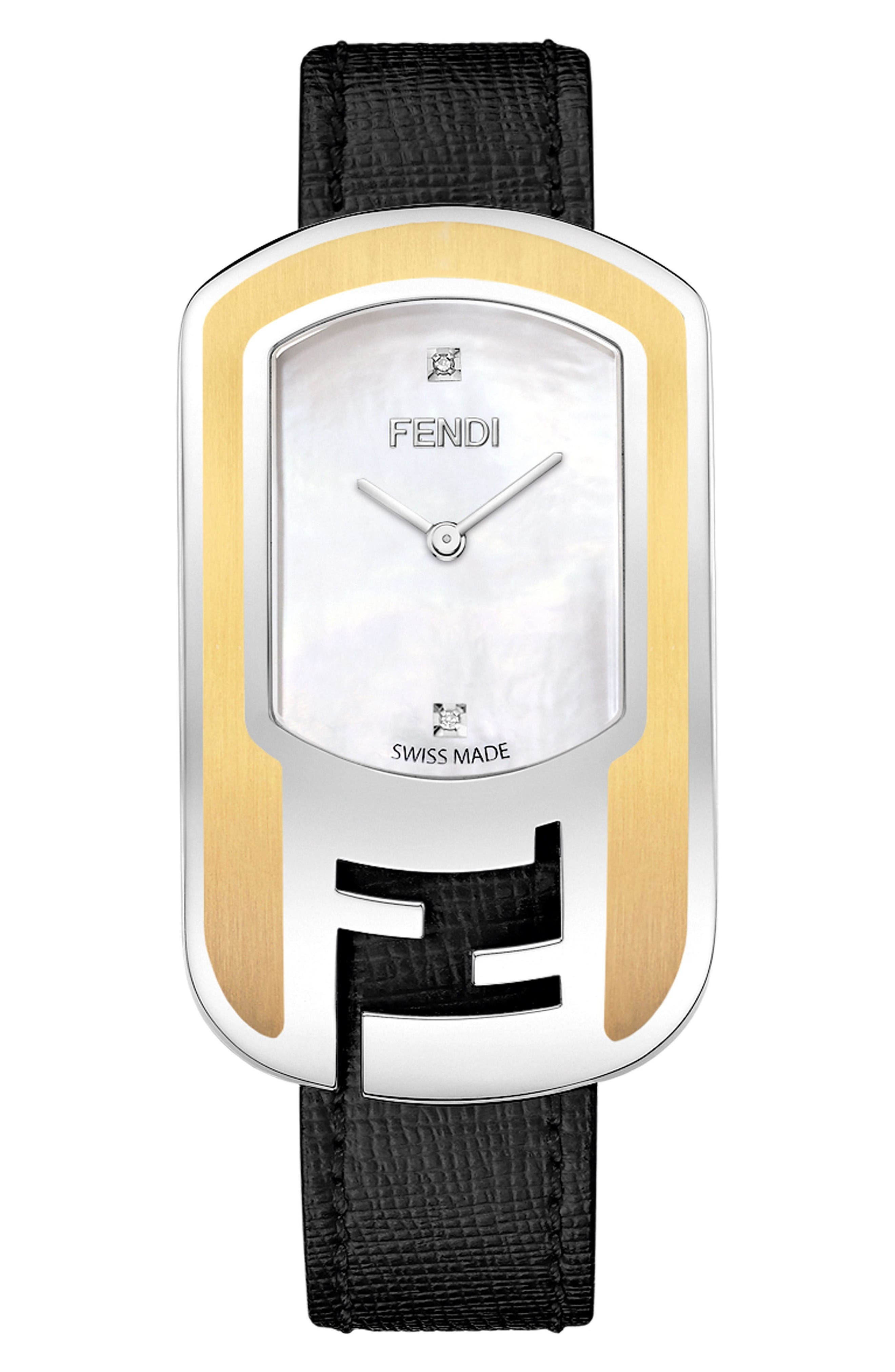 Fendi Chameleon Leather Strap Watch, 29mm x 49mm
