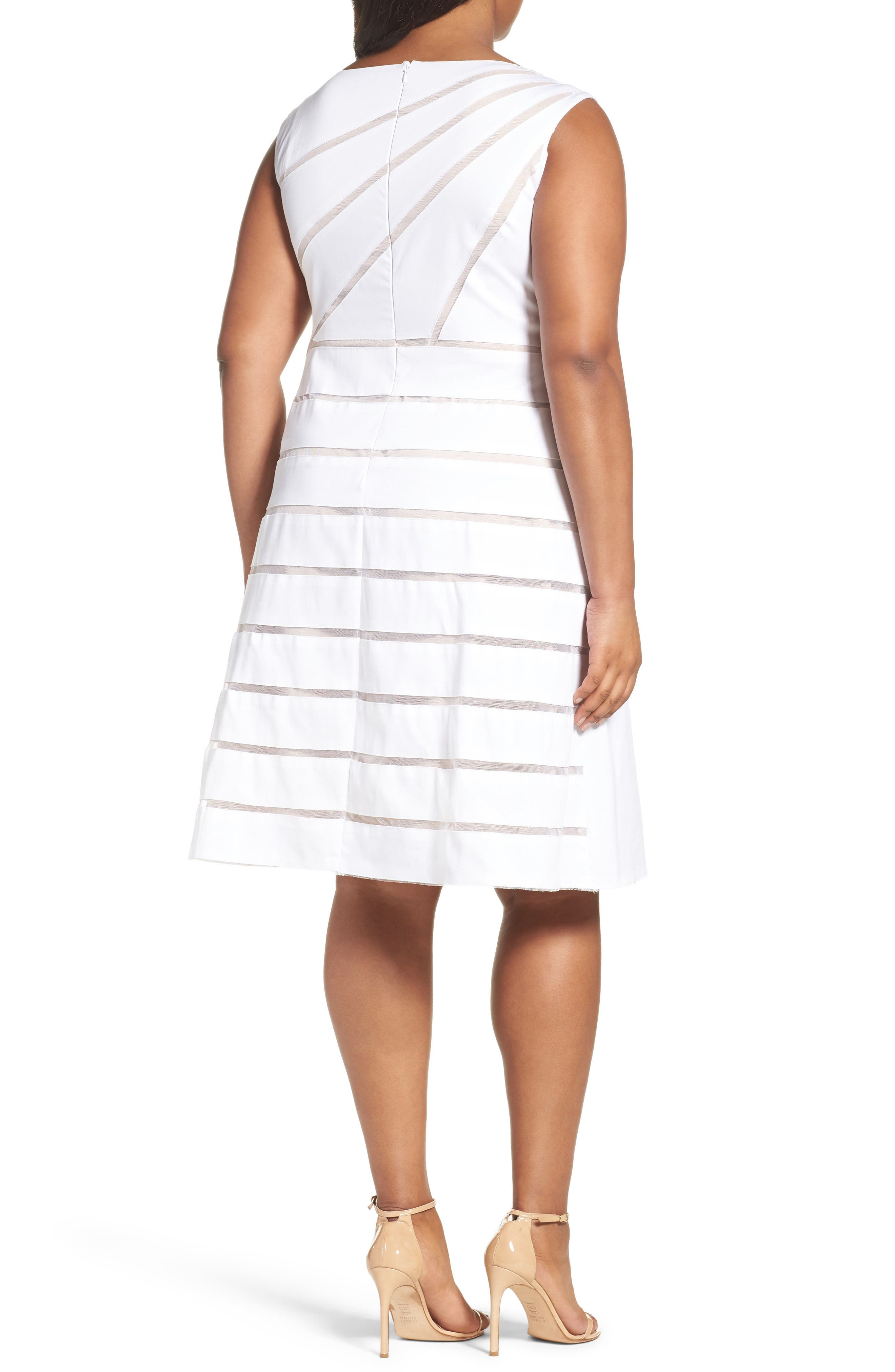 Alternate Image 2  - Adrianna Papell Shadow Stripe Fit & Flare Dress (Plus Size)