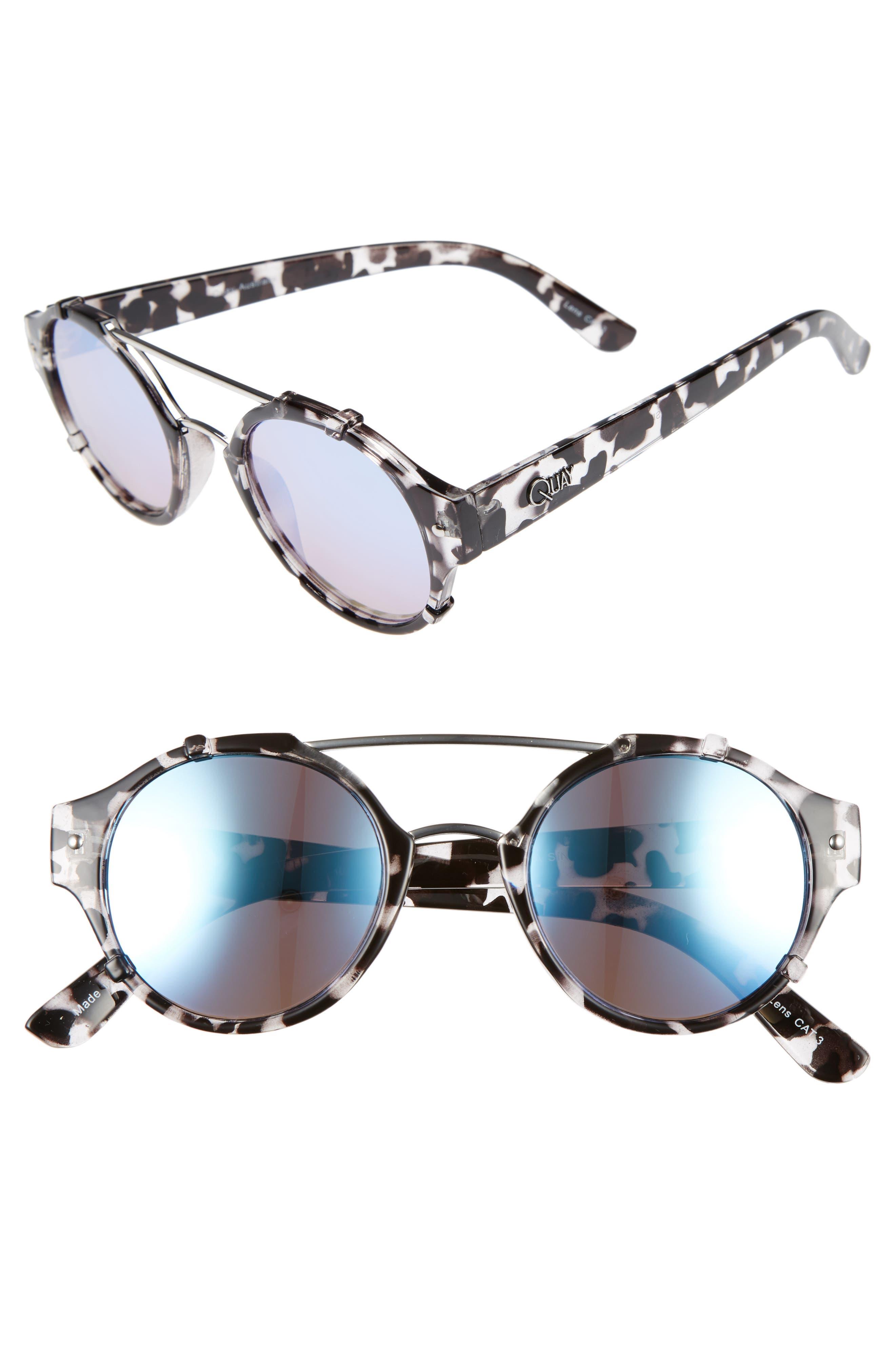 Quay Australia It's a Sin 49mm Mirrored Round Sunglasses