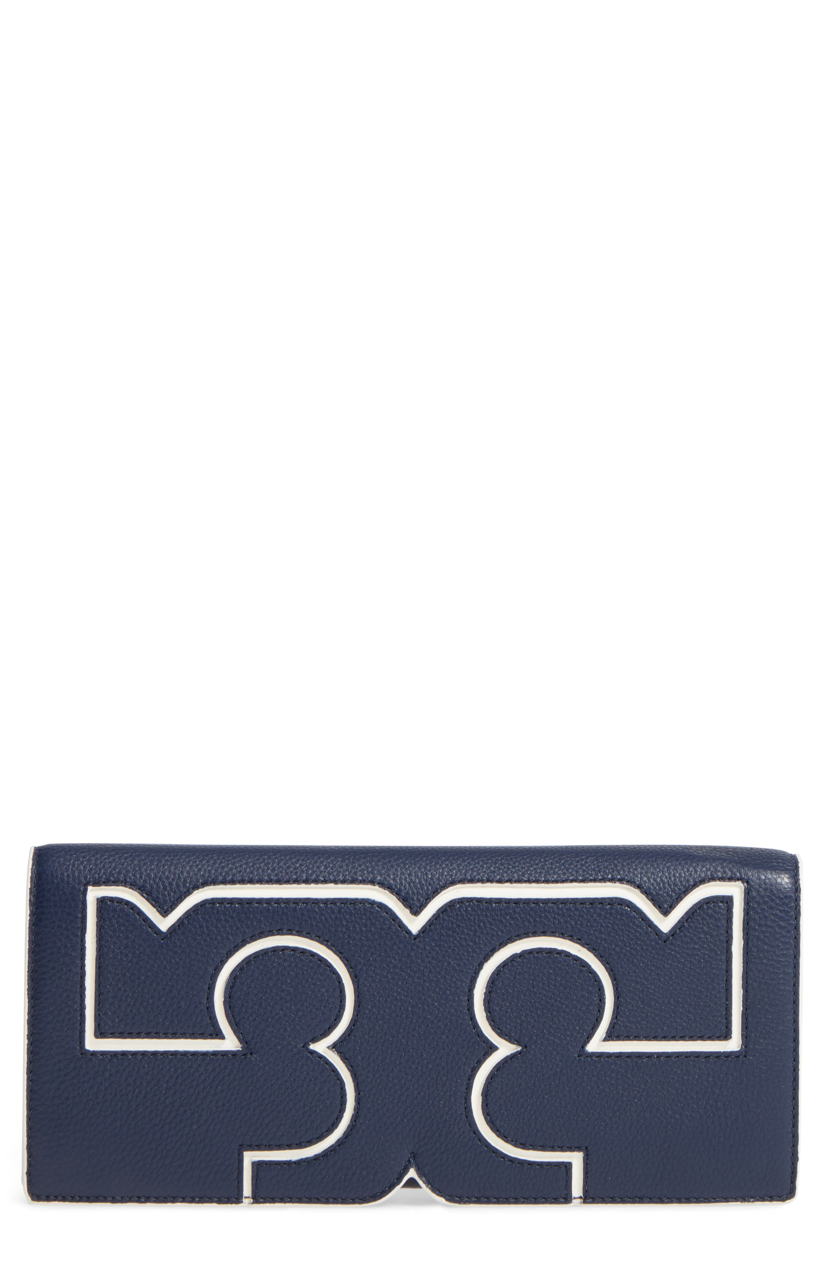 Main Image - Tory Burch Serif Leather Clutch