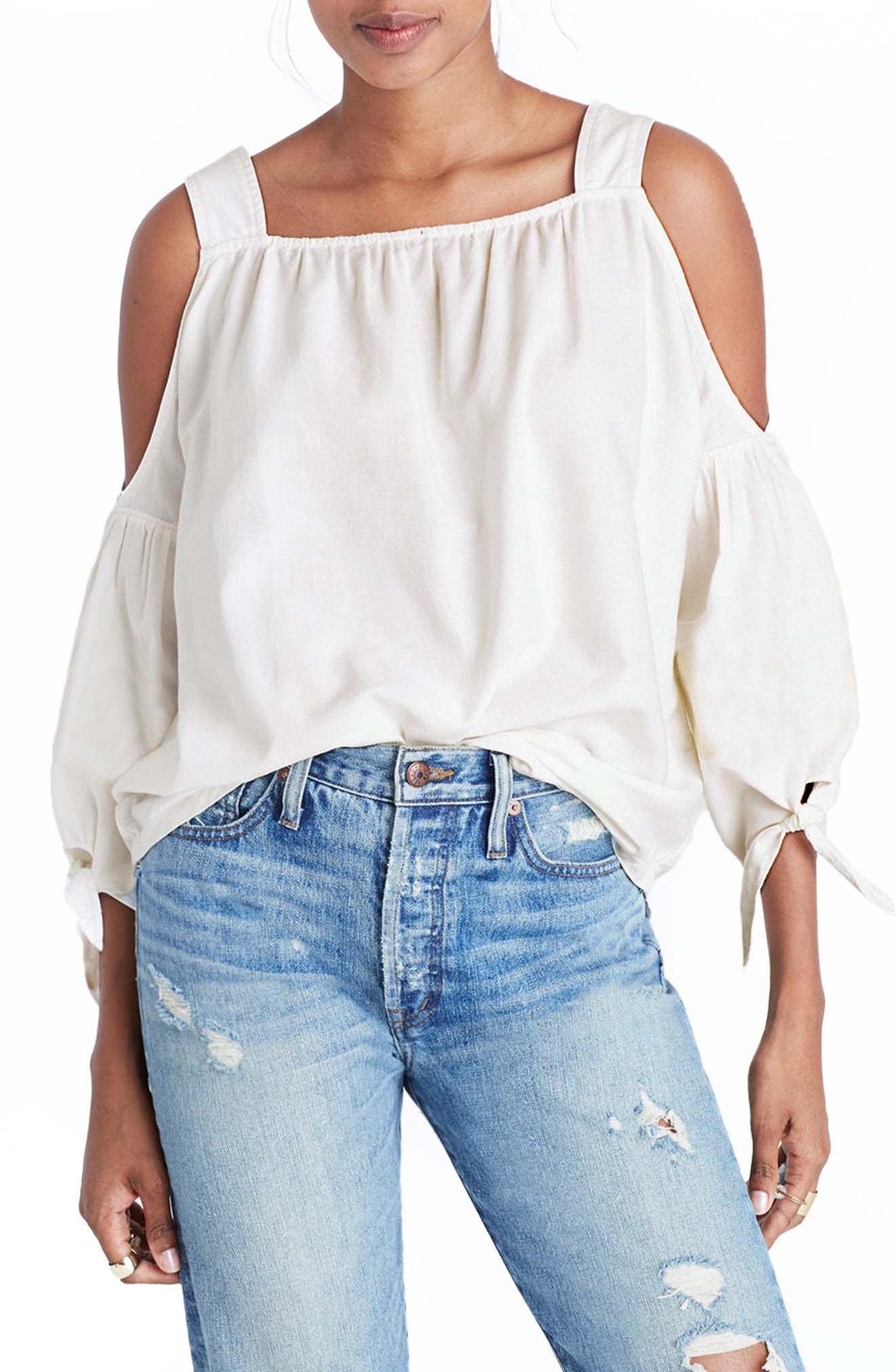 Main Image - Madewell Cotton Cold Shoulder Blouse