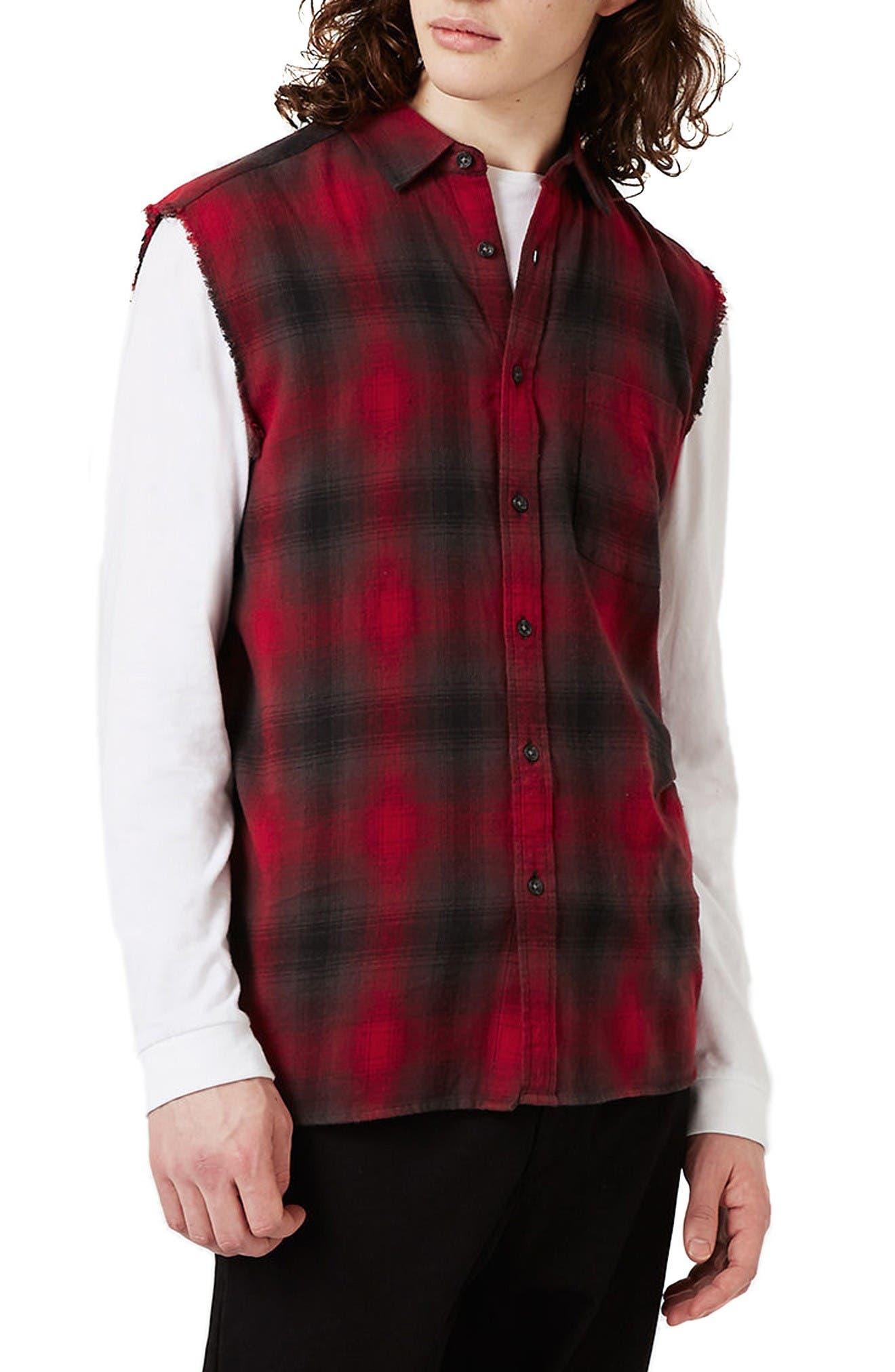 Topman Sleeveless Plaid Shirt