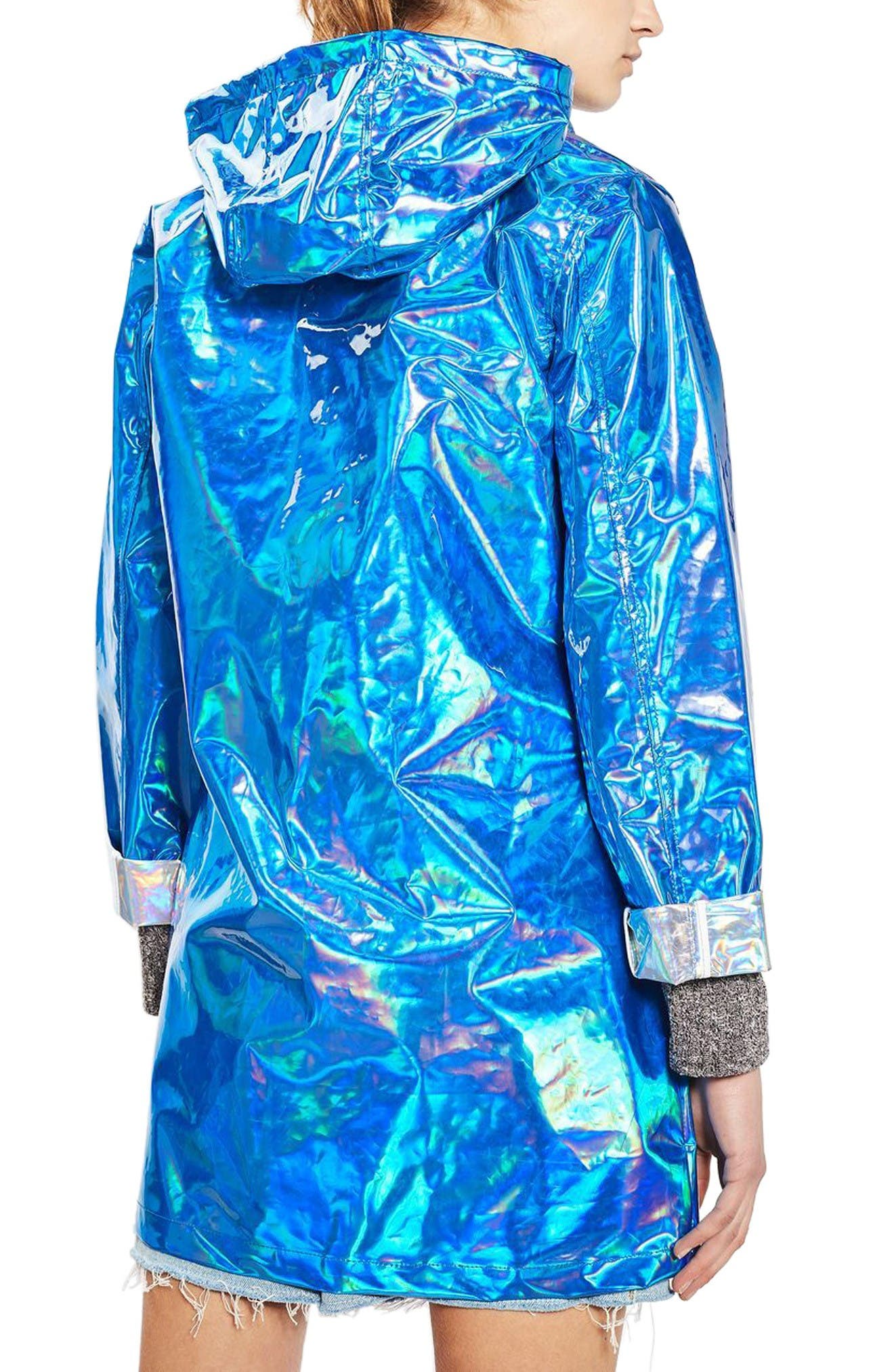 Alternate Image 3  - Topshop Iridescent Rain Jacket