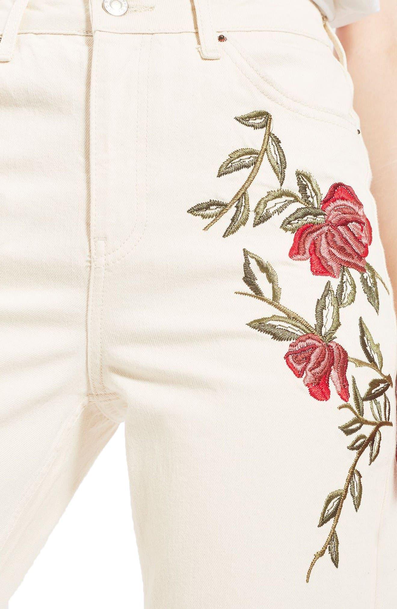 Alternate Image 5  - Topshop Rose Embroidered Mom Jeans