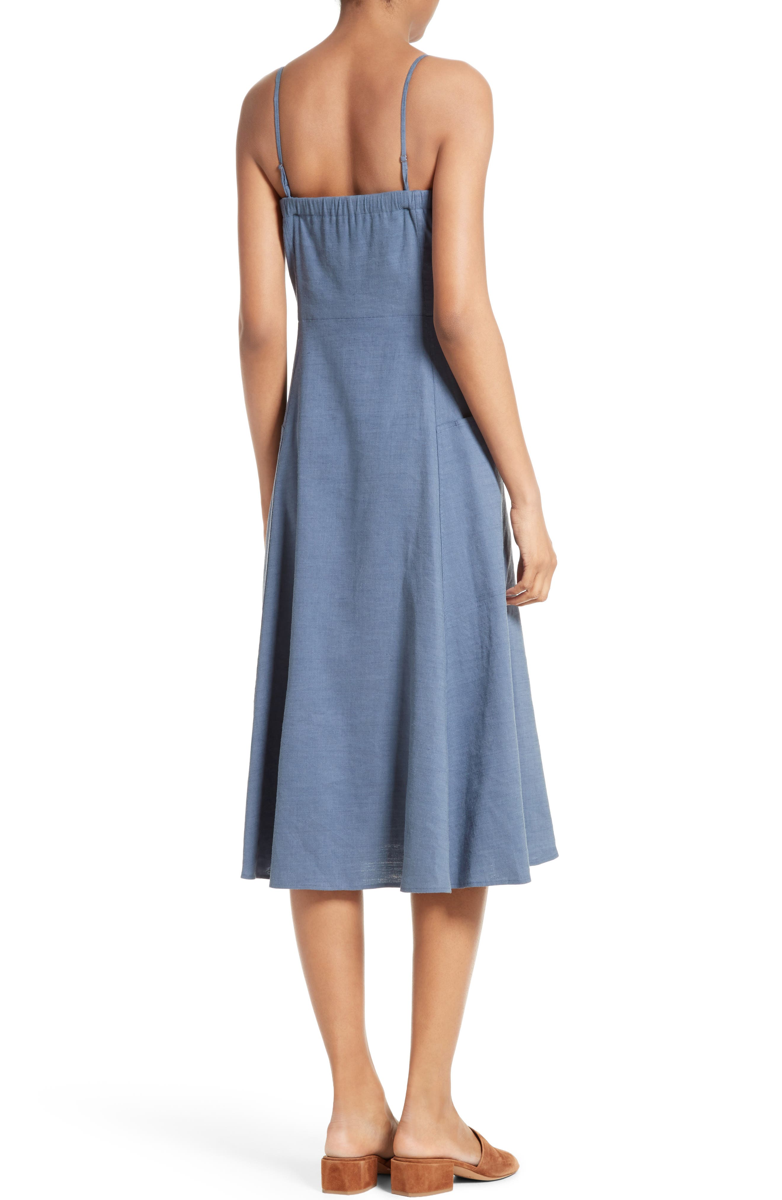 Alternate Image 2  - Theory Kayleigh Crunch Wash Chambray Midi Dress