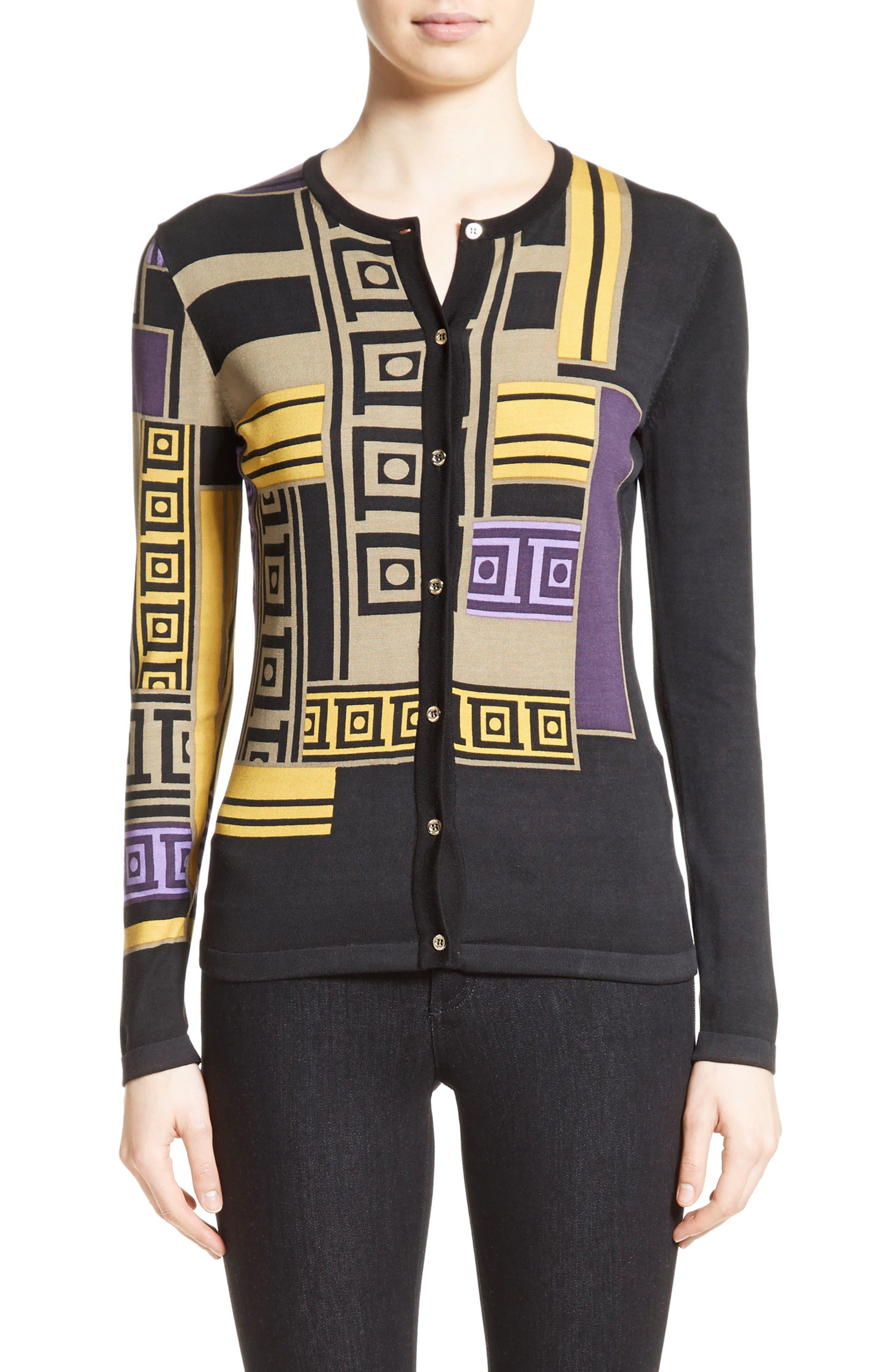 Versace Collection Tetris Silk Blend Cardigan