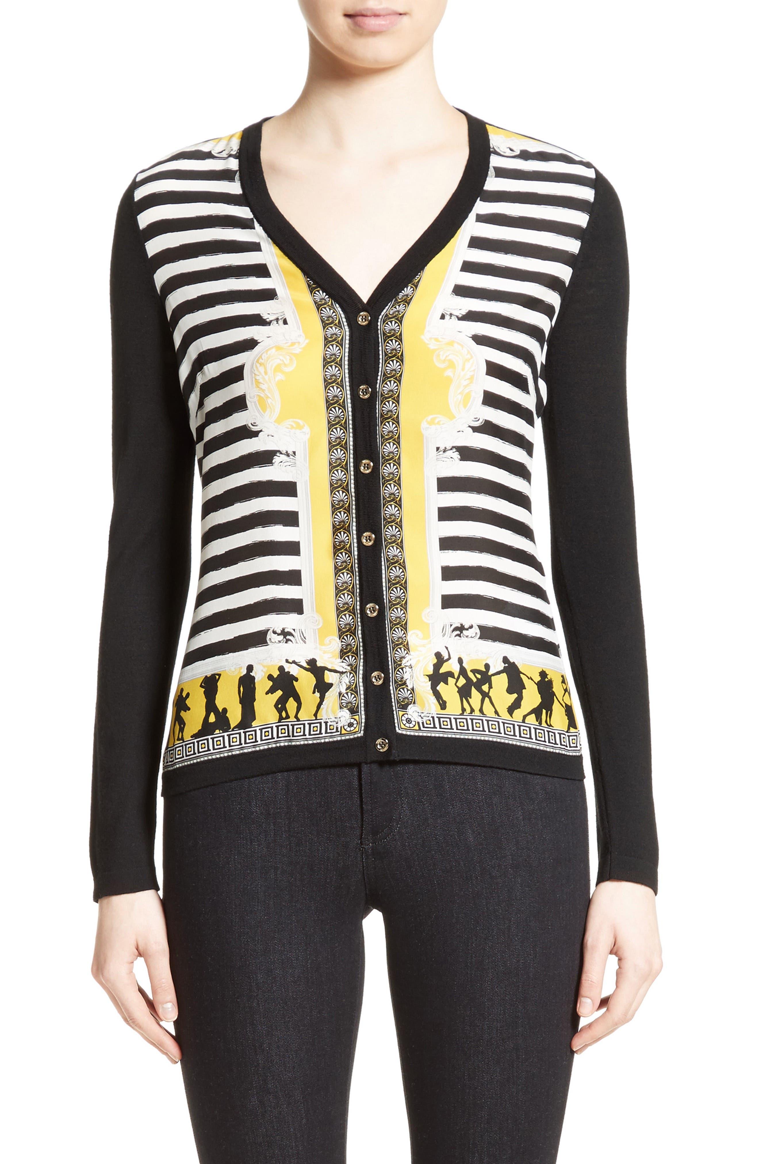 Main Image - Versace Collection Catwalk Print Silk & Wool Cardigan