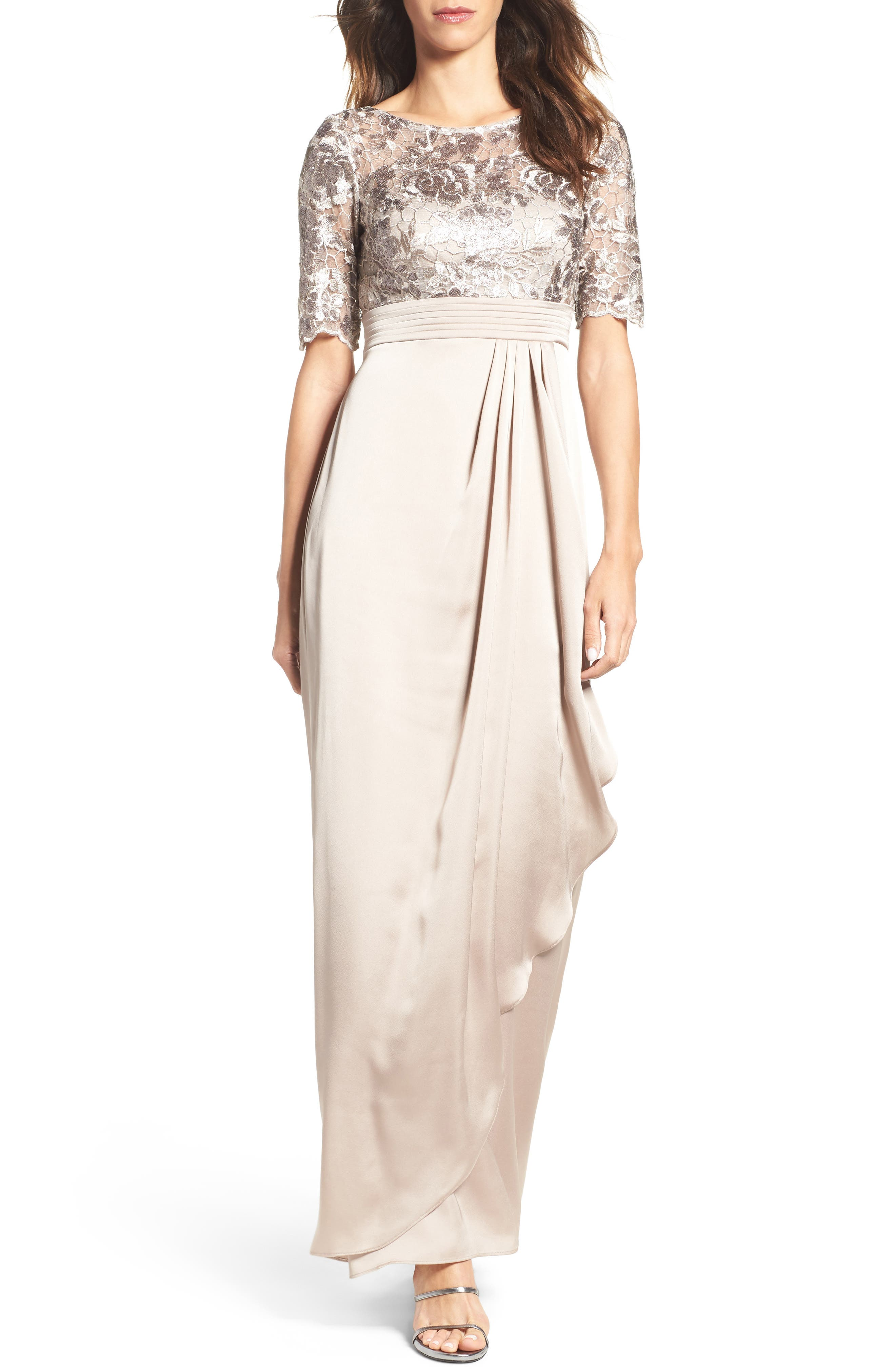 Adrianna Papell Floral Sequin Embroidered Gown (Regular & Petite)