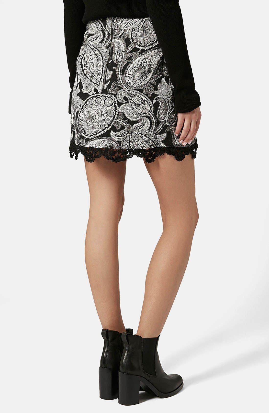 Alternate Image 2  - Topshop Jacquard Paisley Miniskirt