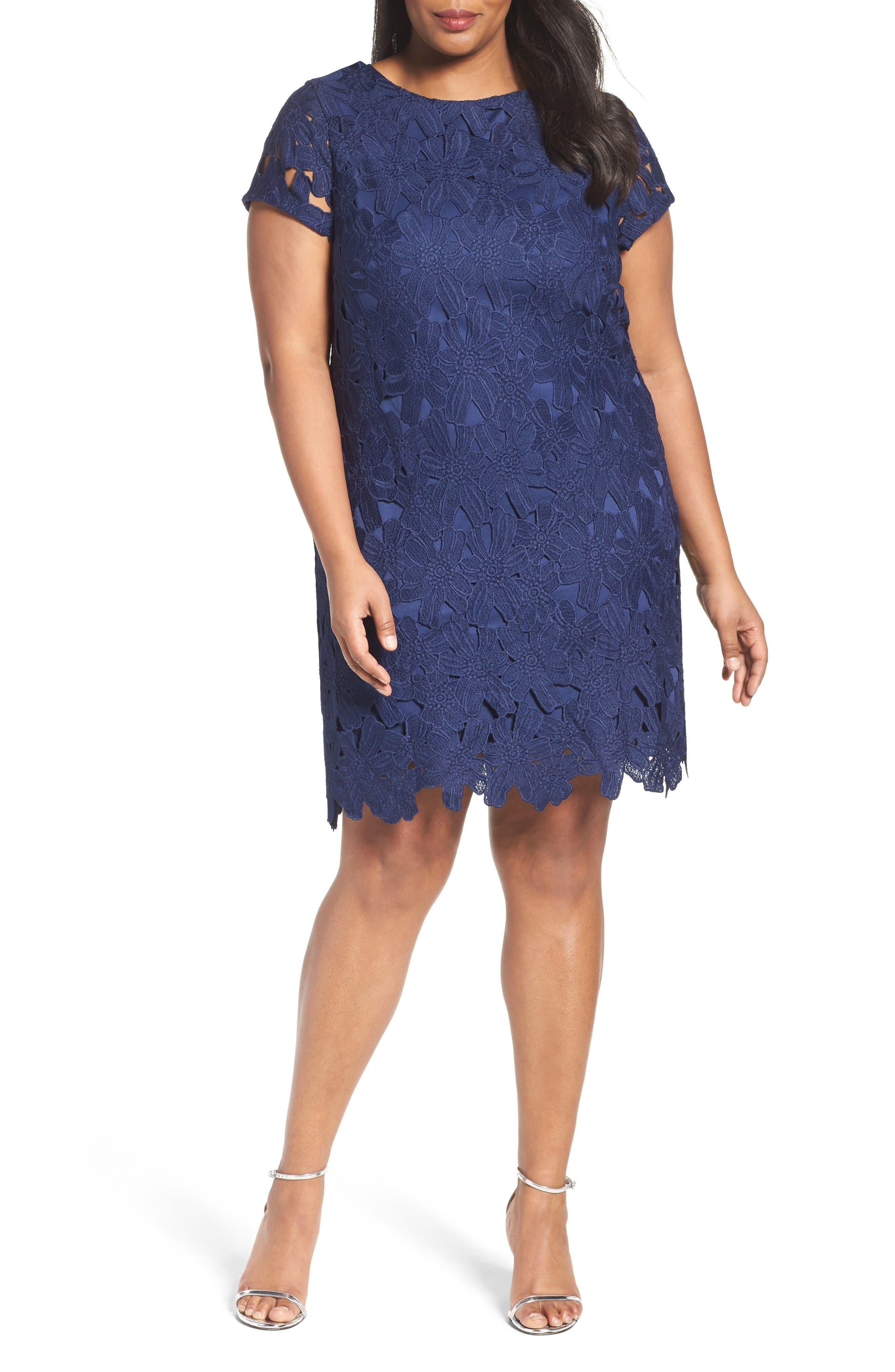 Alternate Image 1 Selected - Ellen Tracy Lace Shift Dress (Plus Size)