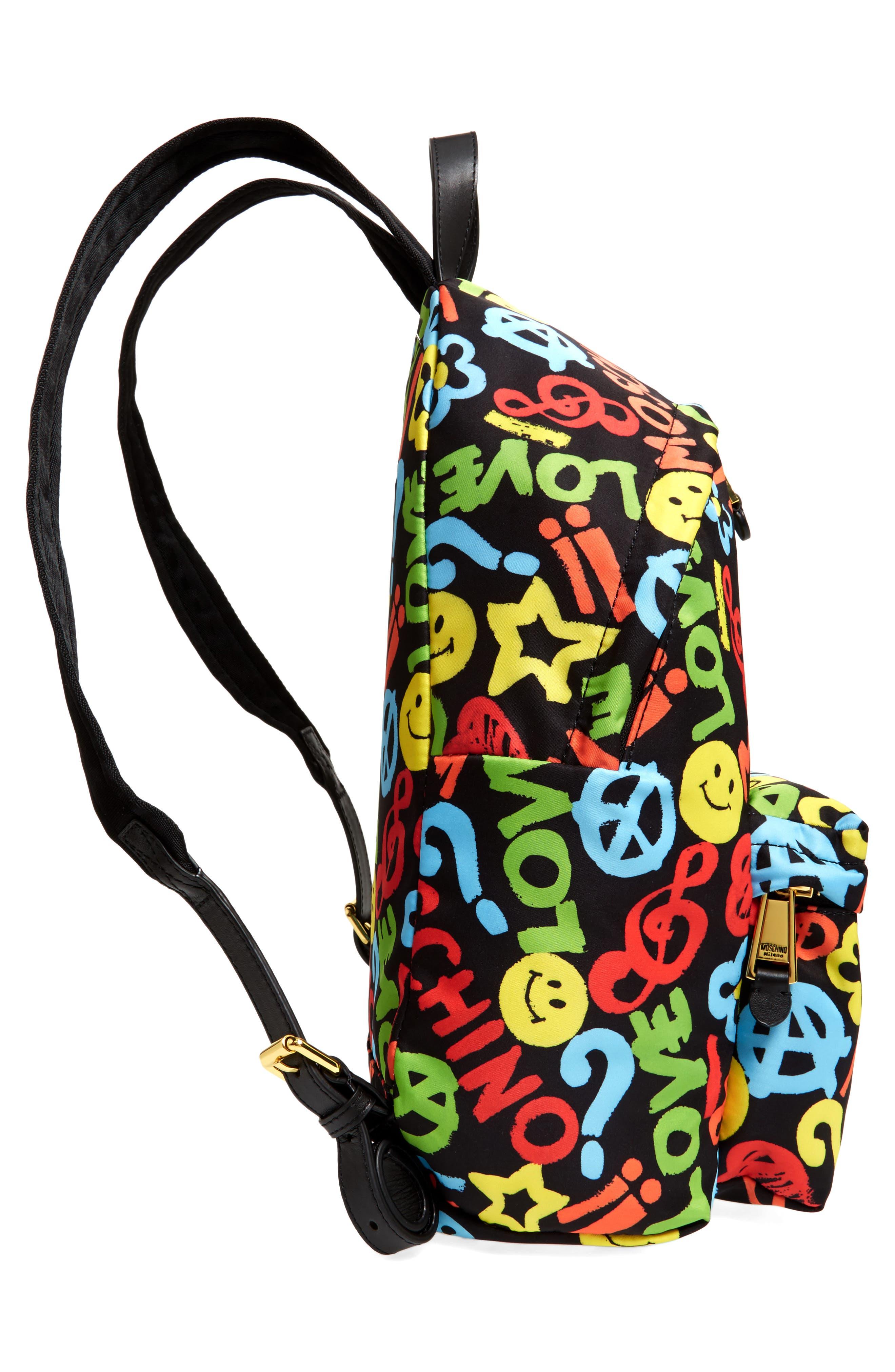 Alternate Image 4  - Moschino Archive Print Tactel® Nylon Backpack