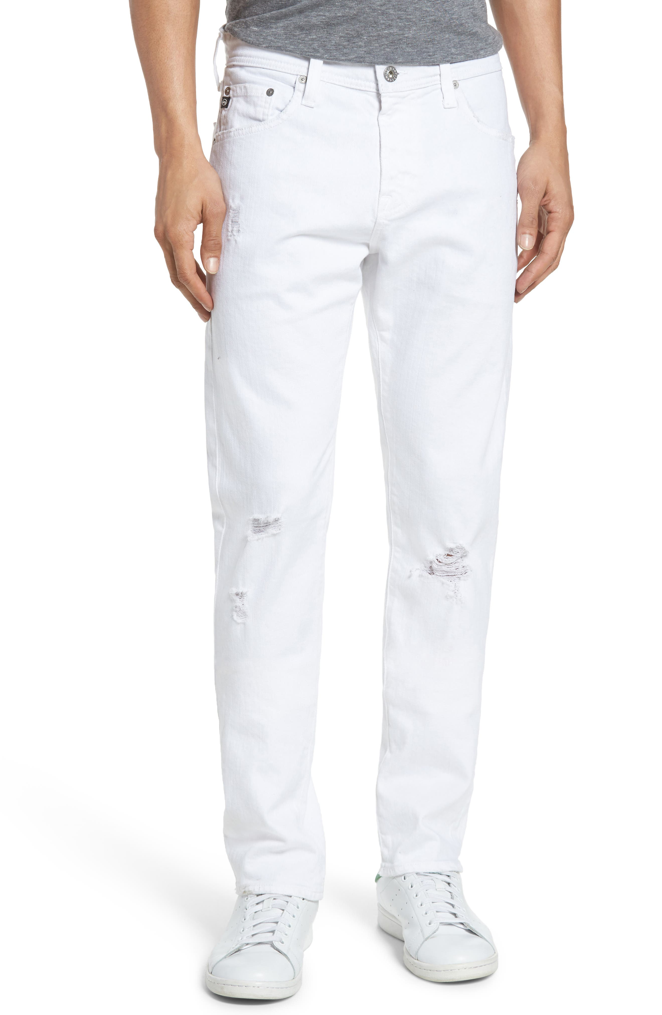 Alternate Image 1 Selected - AG Tellis Slim Fit Jeans (Ragged White)