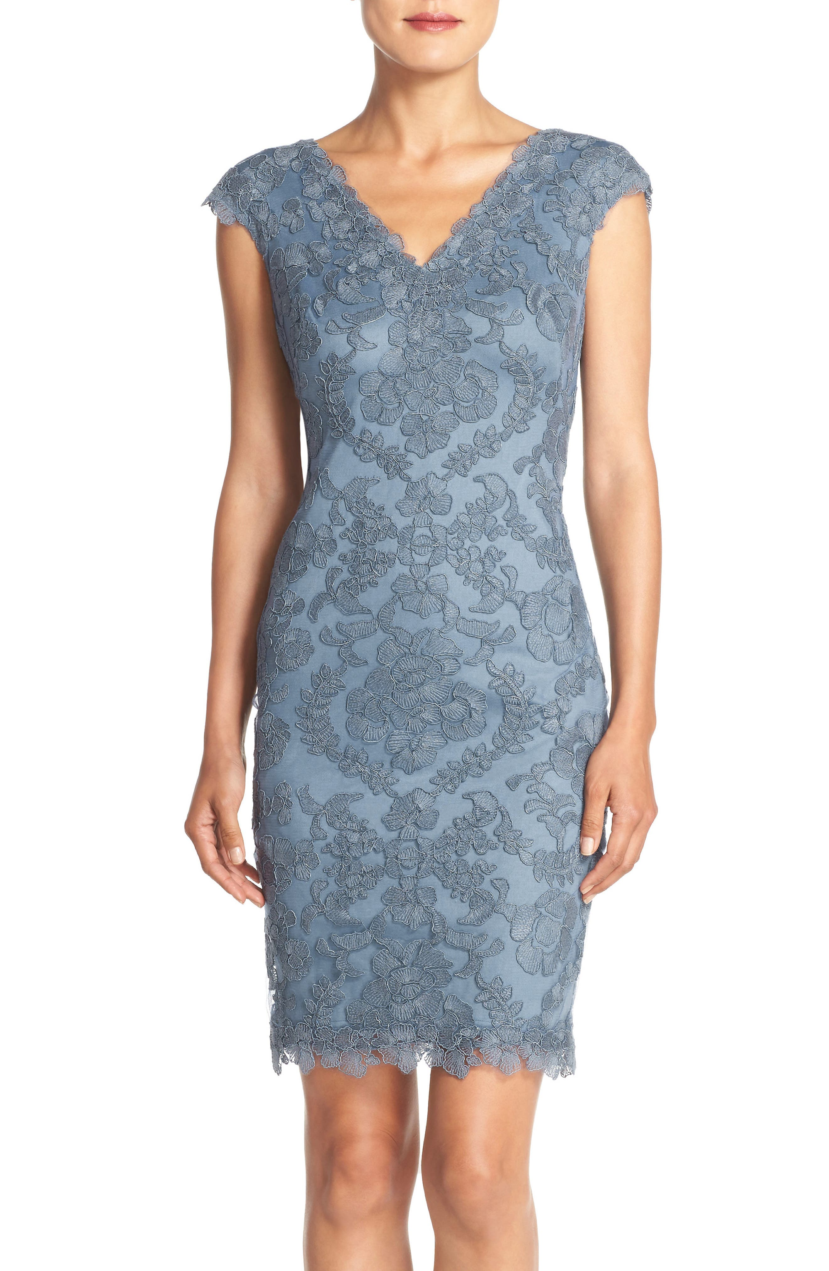Tadashi Shoji Embroidered Tulle Sheath Dress