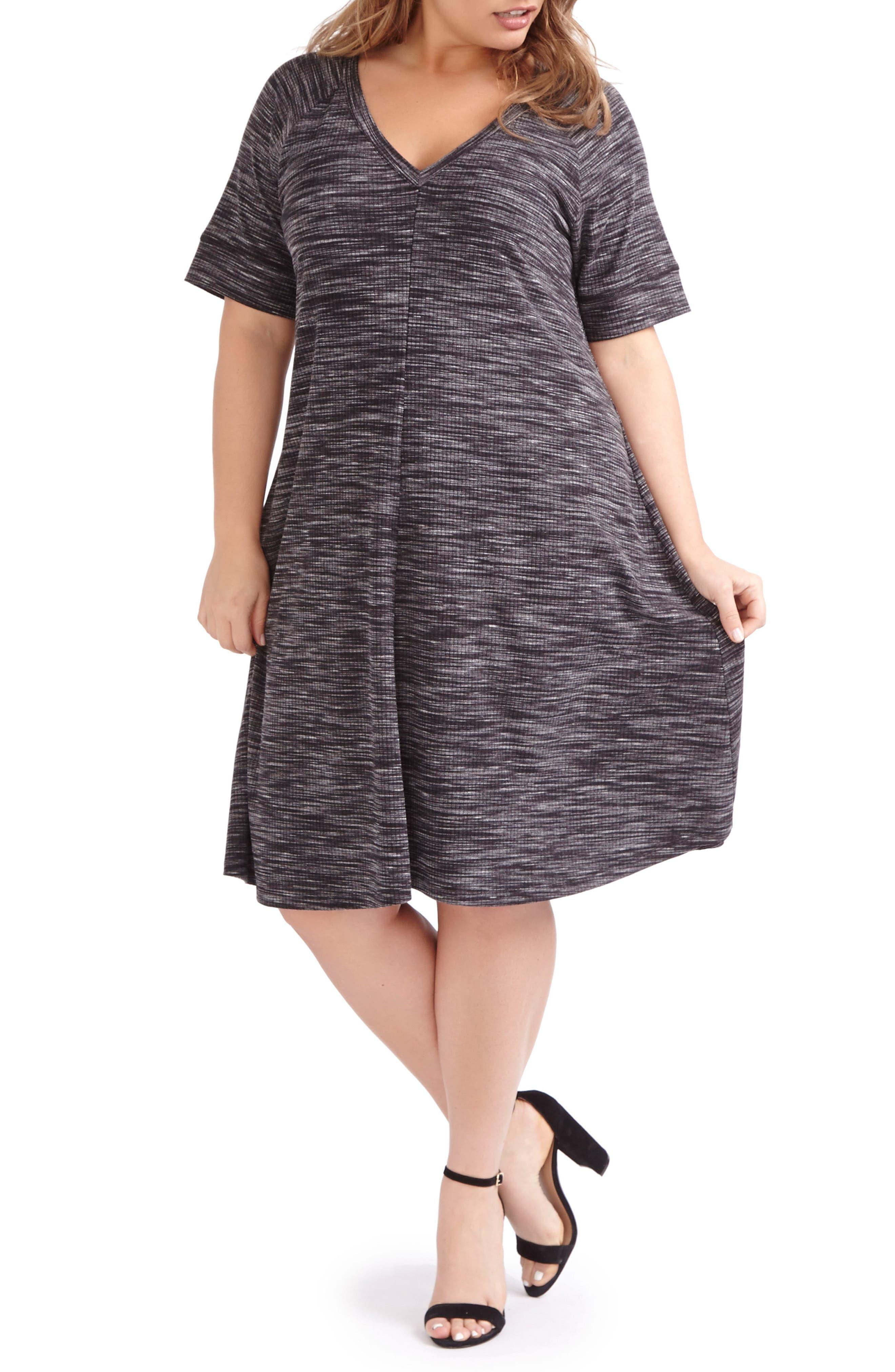 ADDITION ELLE LOVE AND LEGEND Print Rib Knit A-Line Dress (Plus Size)
