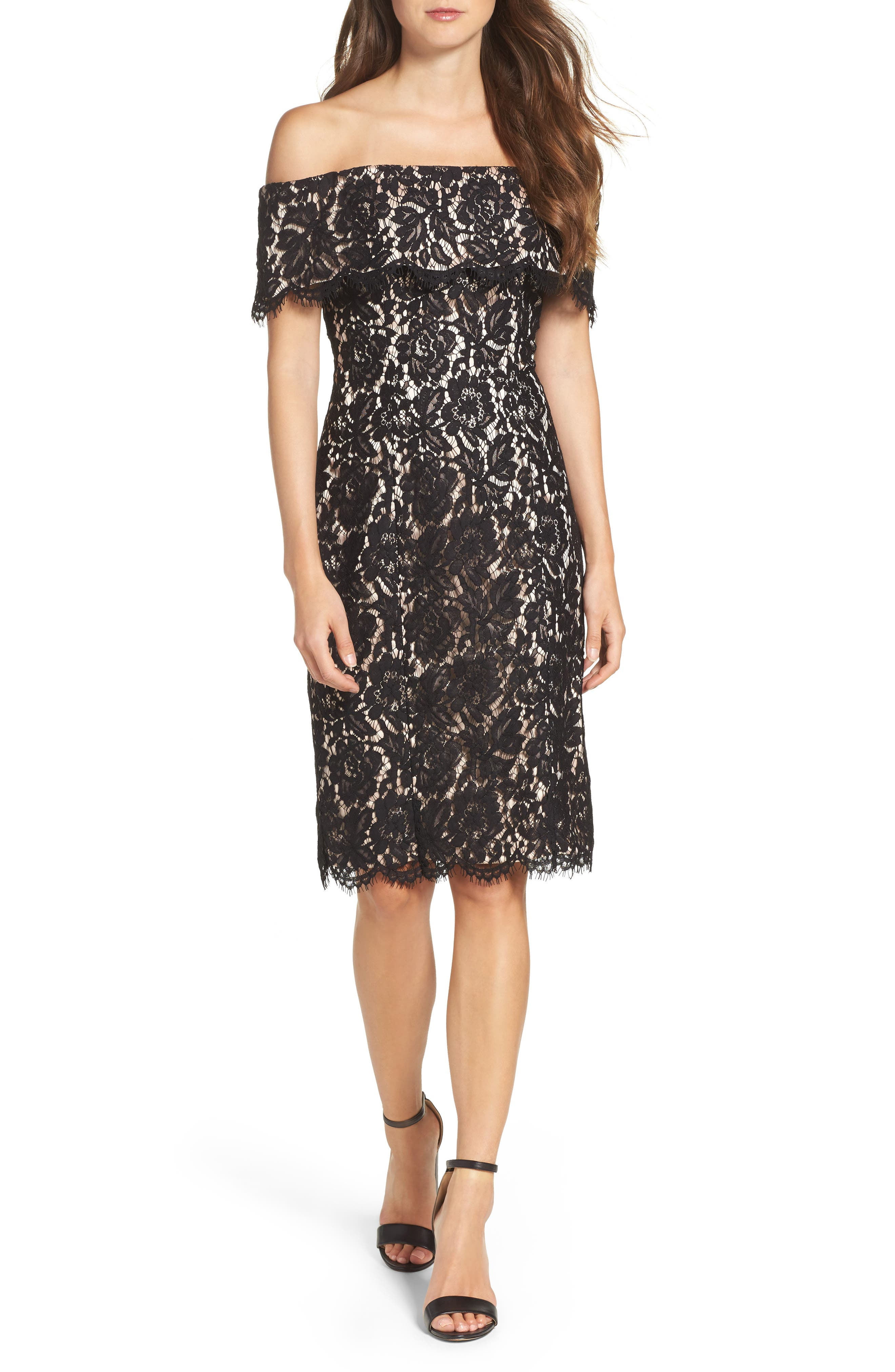 Eliza J Off the Shoulder Lace Sheath (Regular & Petite)