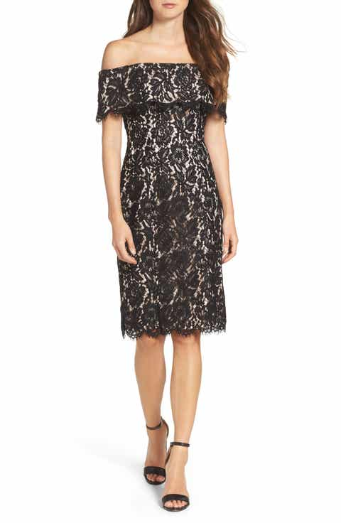 Lace Little Black Dresses Pleated Jersey Amp Draped
