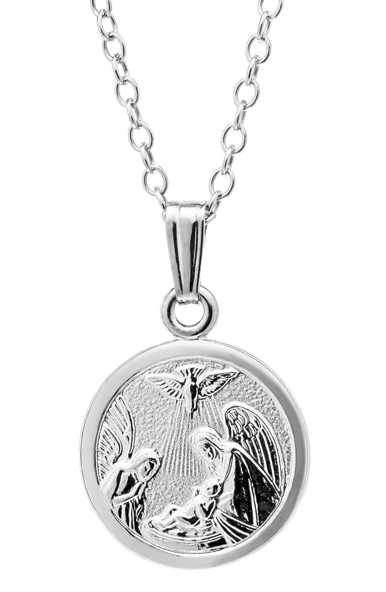Mignonette Sterling Silver Guardian Angel Pendant Necklace (Baby Girls)