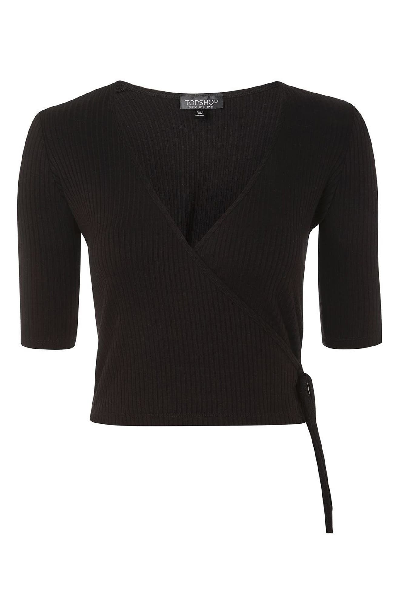 Alternate Image 4  - Topshop Crop Wrap Top
