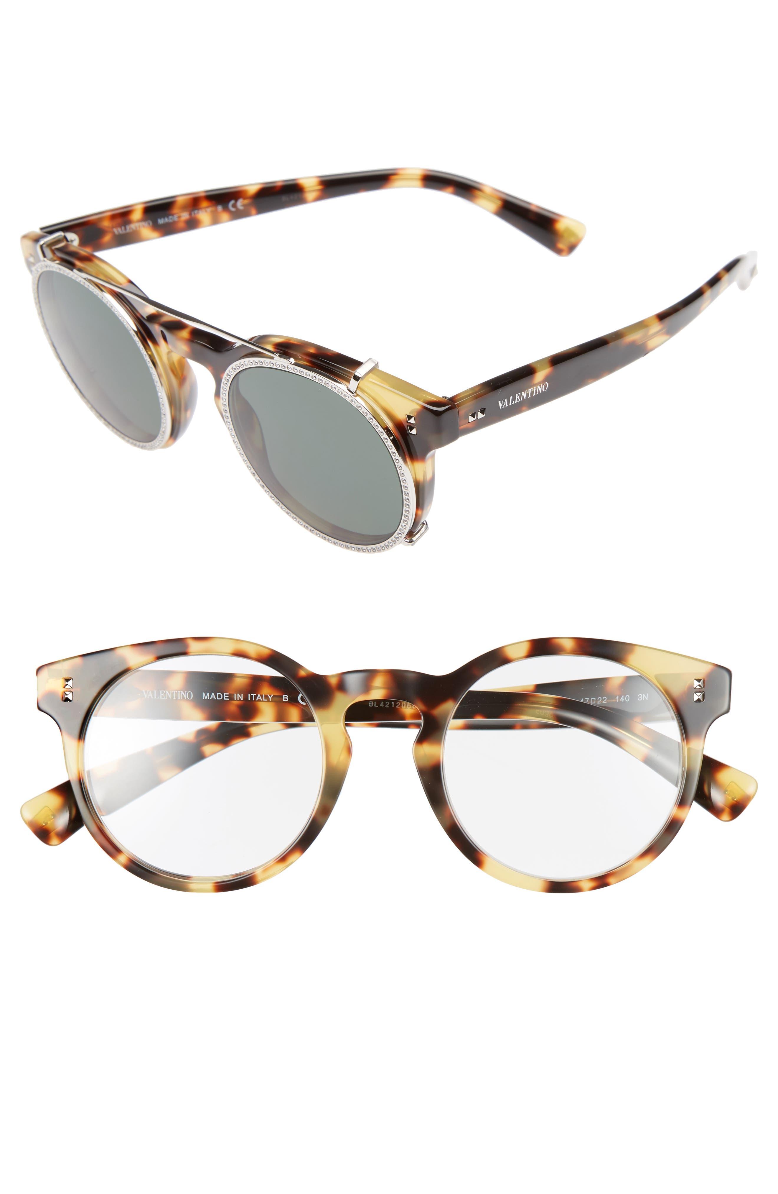Valentino 47mm Round Sunglasses