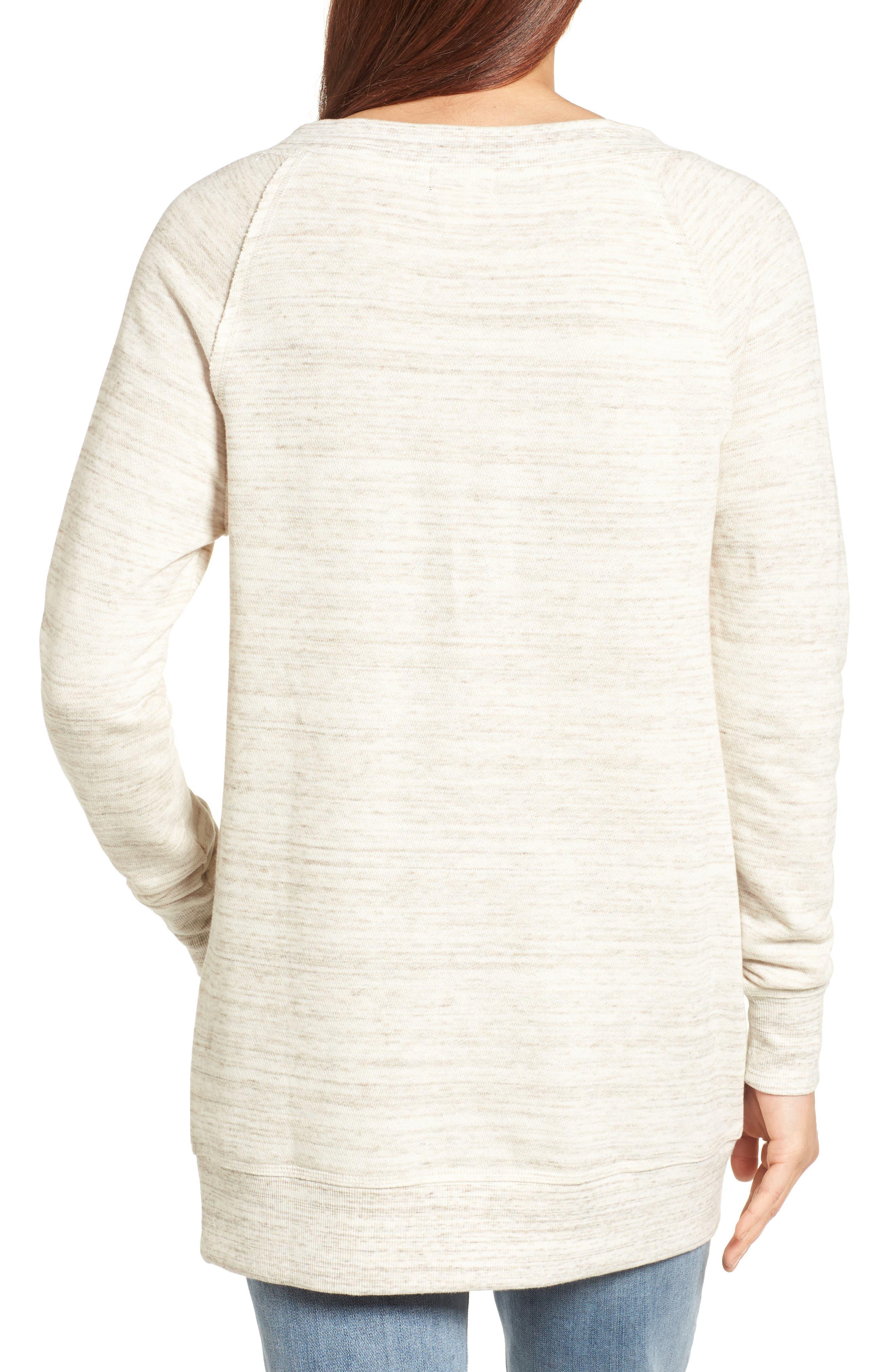 Alternate Image 2  - Caslon® Space Dye Tunic Sweatshirt (Regular & Petite)