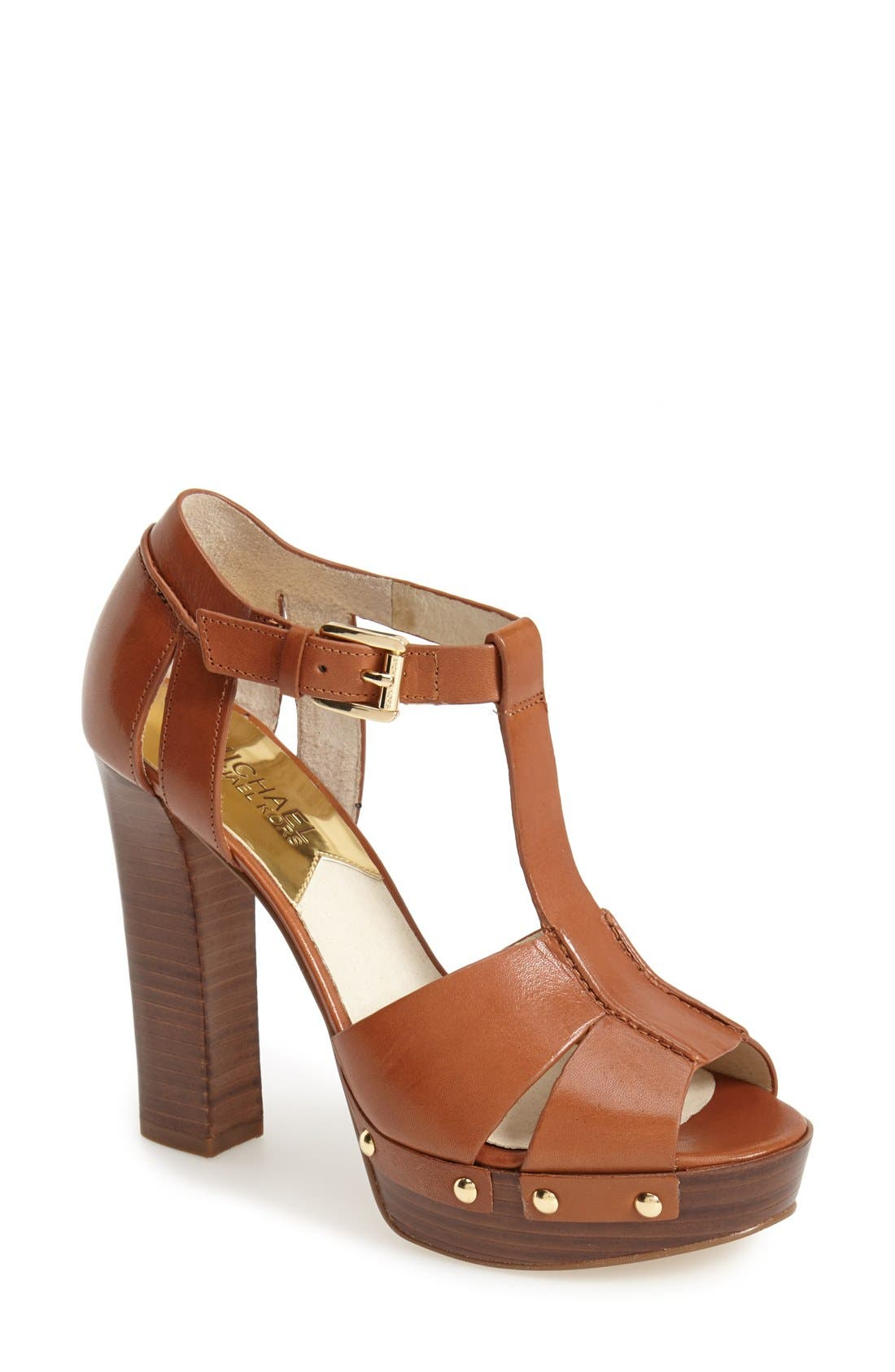 Alternate Image 1 Selected - MICHAEL Michael Kors 'Beatrice' Leather T-Strap Platform Sandal (Women)