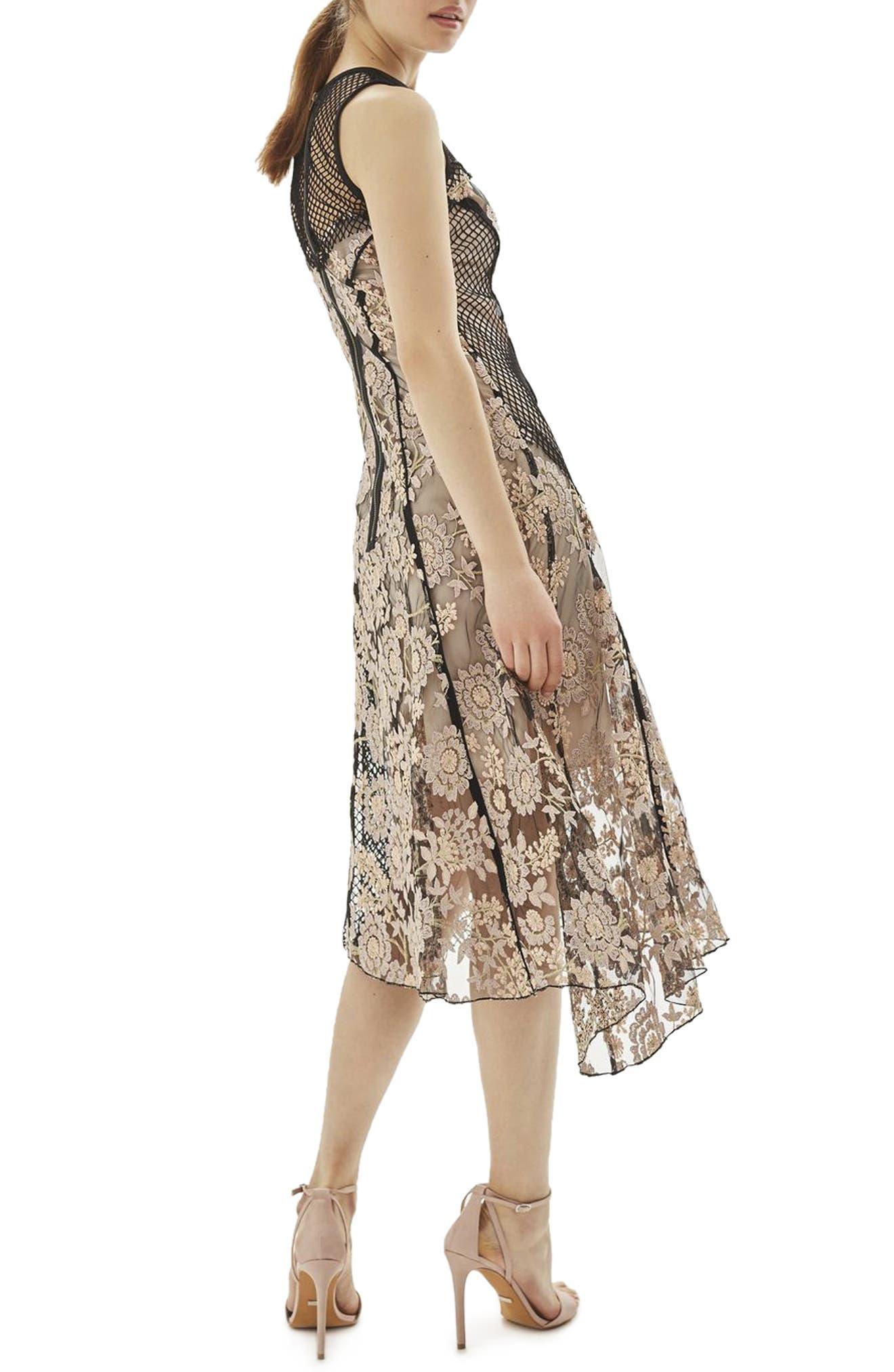 Alternate Image 2  - Topshop Lace & Fishnet Midi Dress
