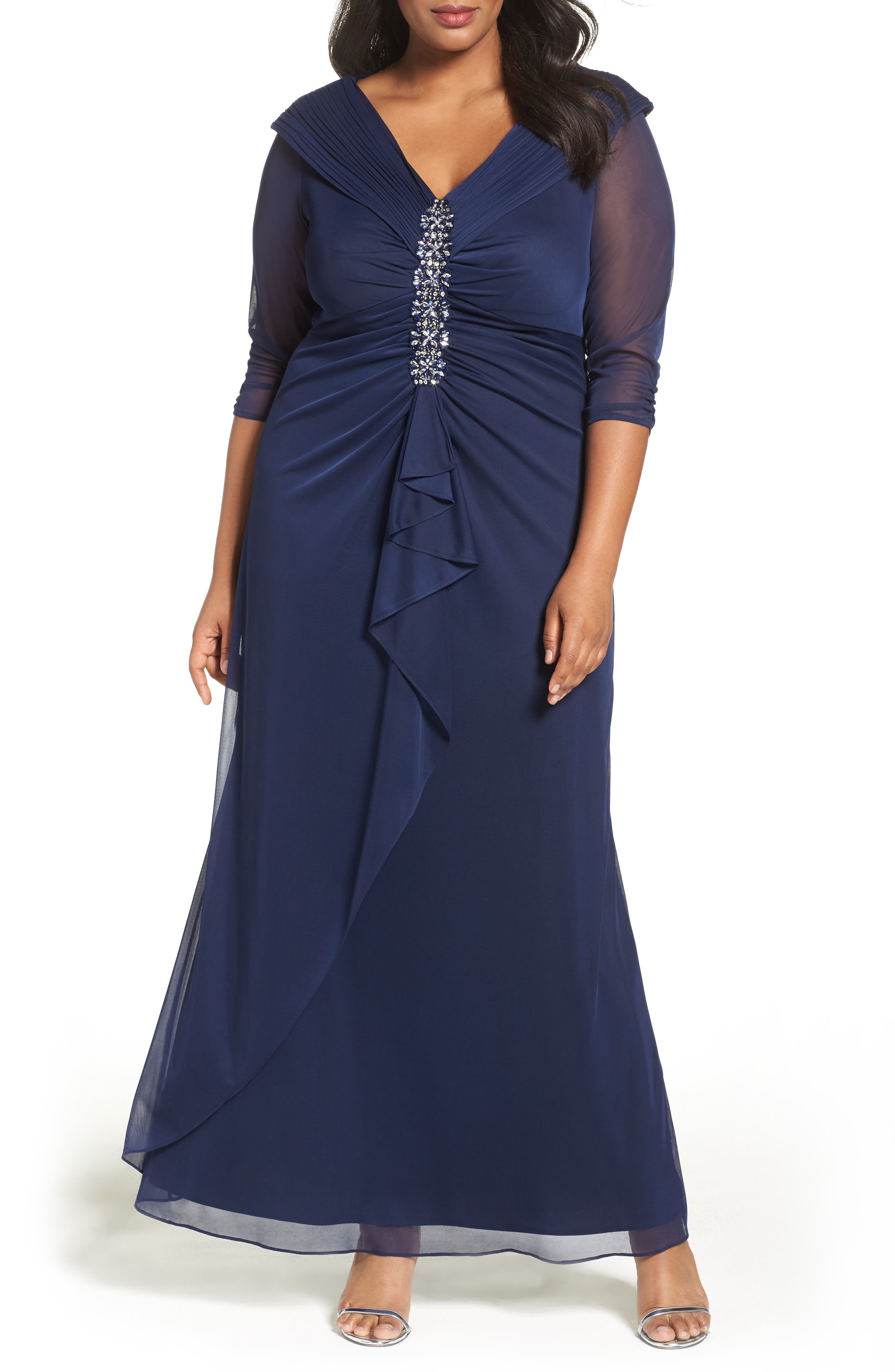 Alex Evenings Embellished Portrait Collar Gown (Plus Size)