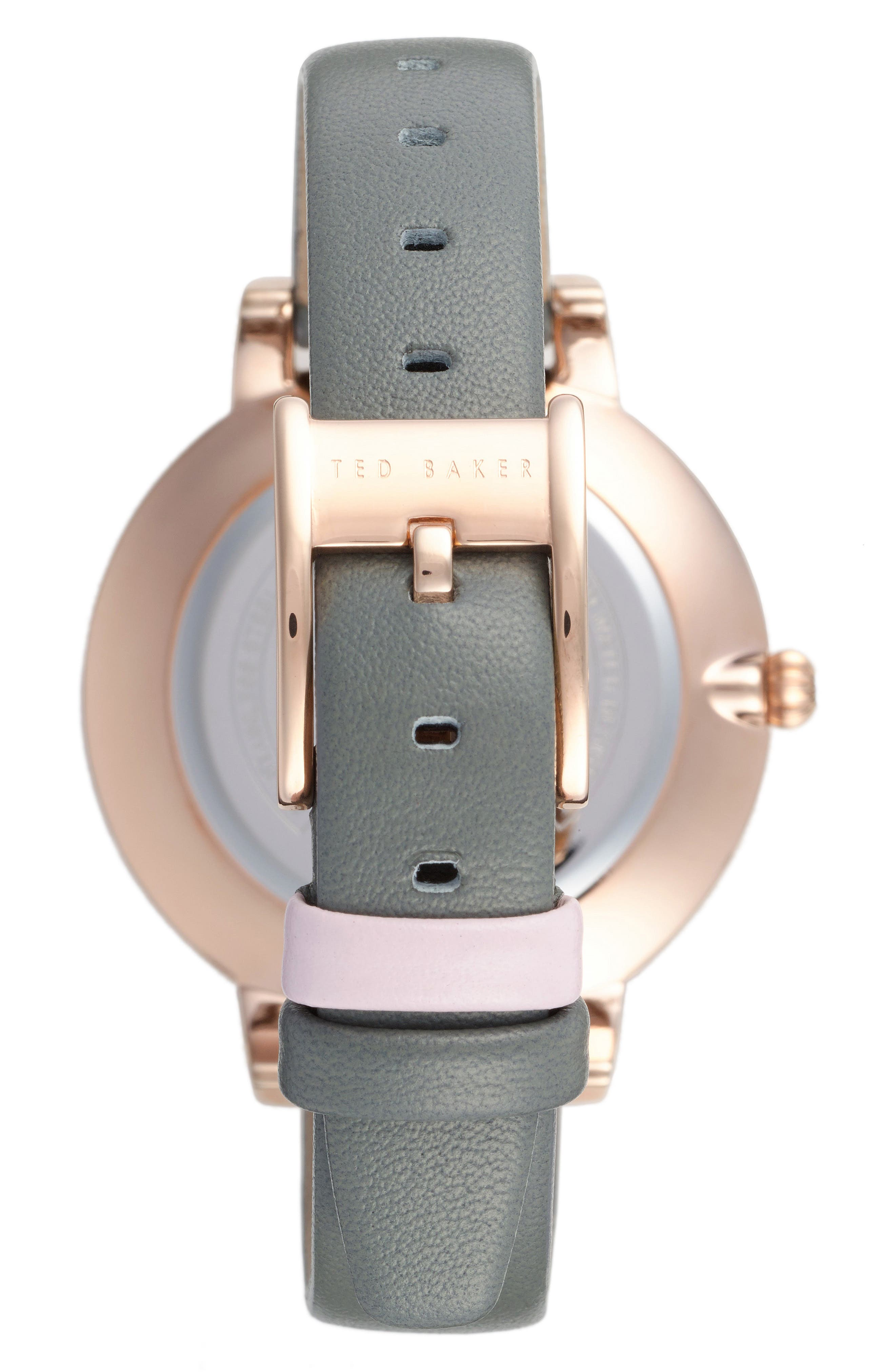 Alternate Image 2  - Ted Baker London Kate Print Dial Leather Strap Watch, 38mm