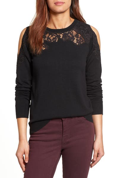 Main Image - Halogen® Lace Detail Cold Shoulder Sweater (Regular & Petite)