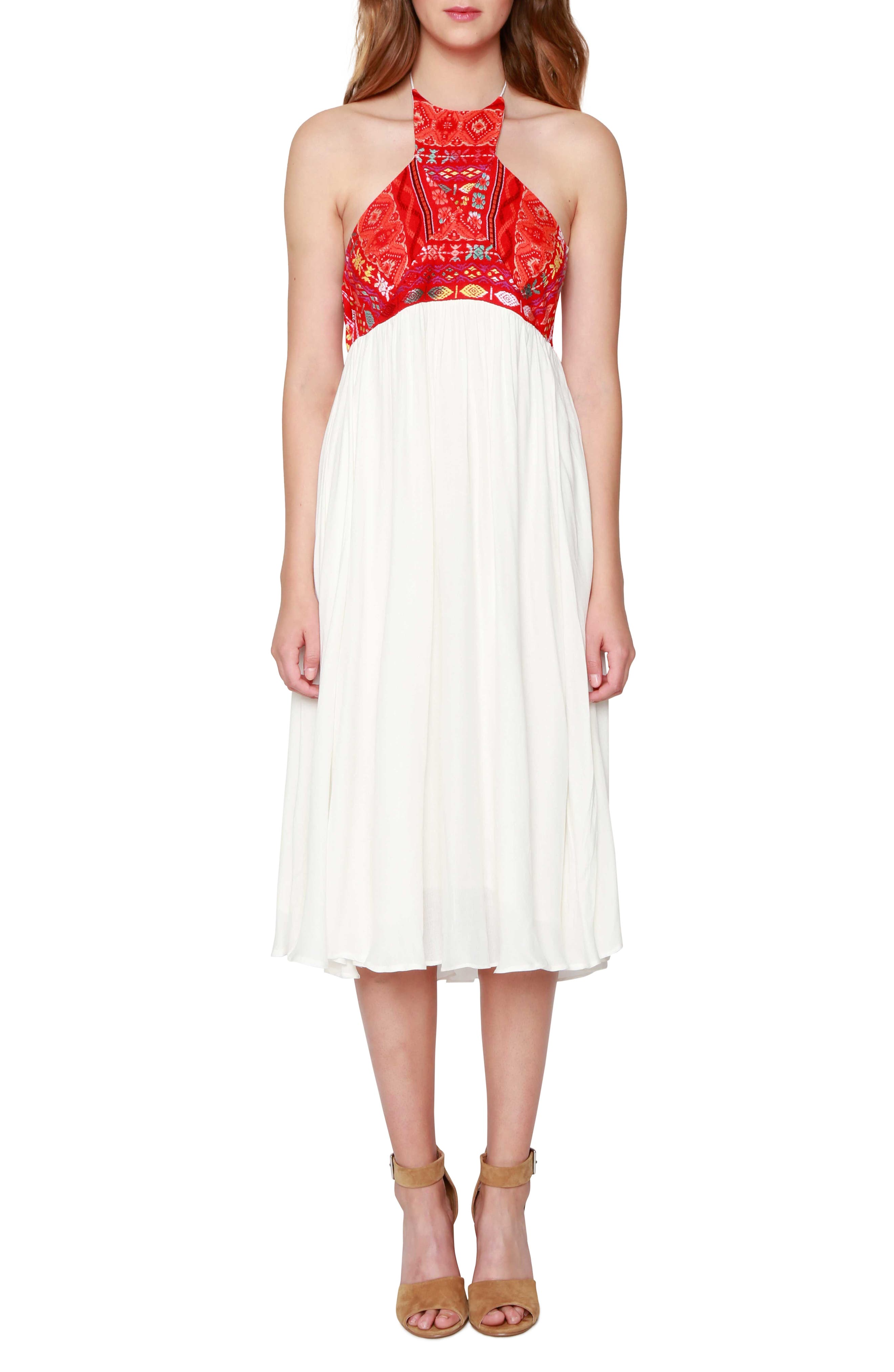 Willow & Clay Embroidered Halter Dress