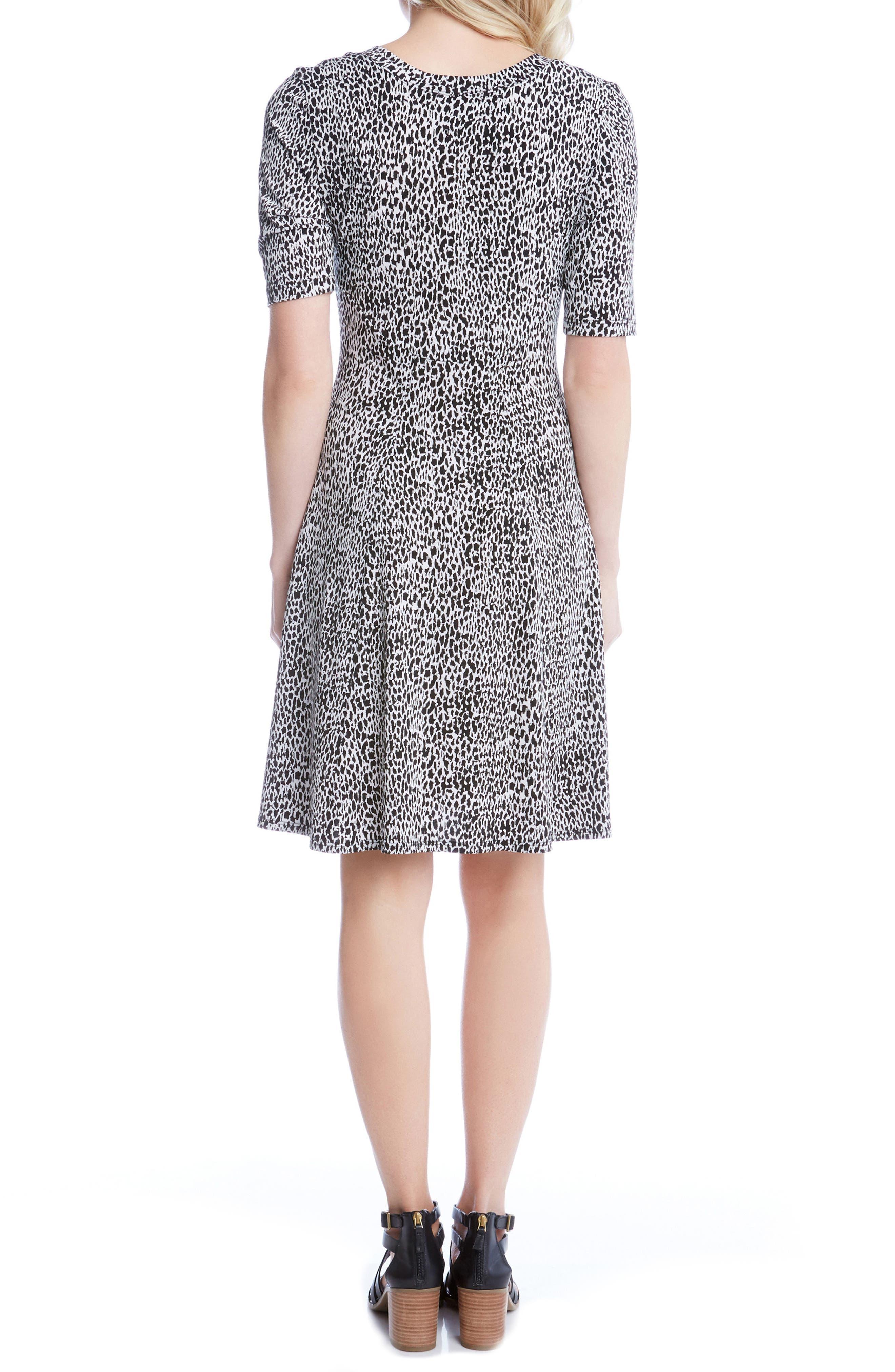 Alternate Image 2  - Karen Kane Pencil Sleeve Print A-Line Dress