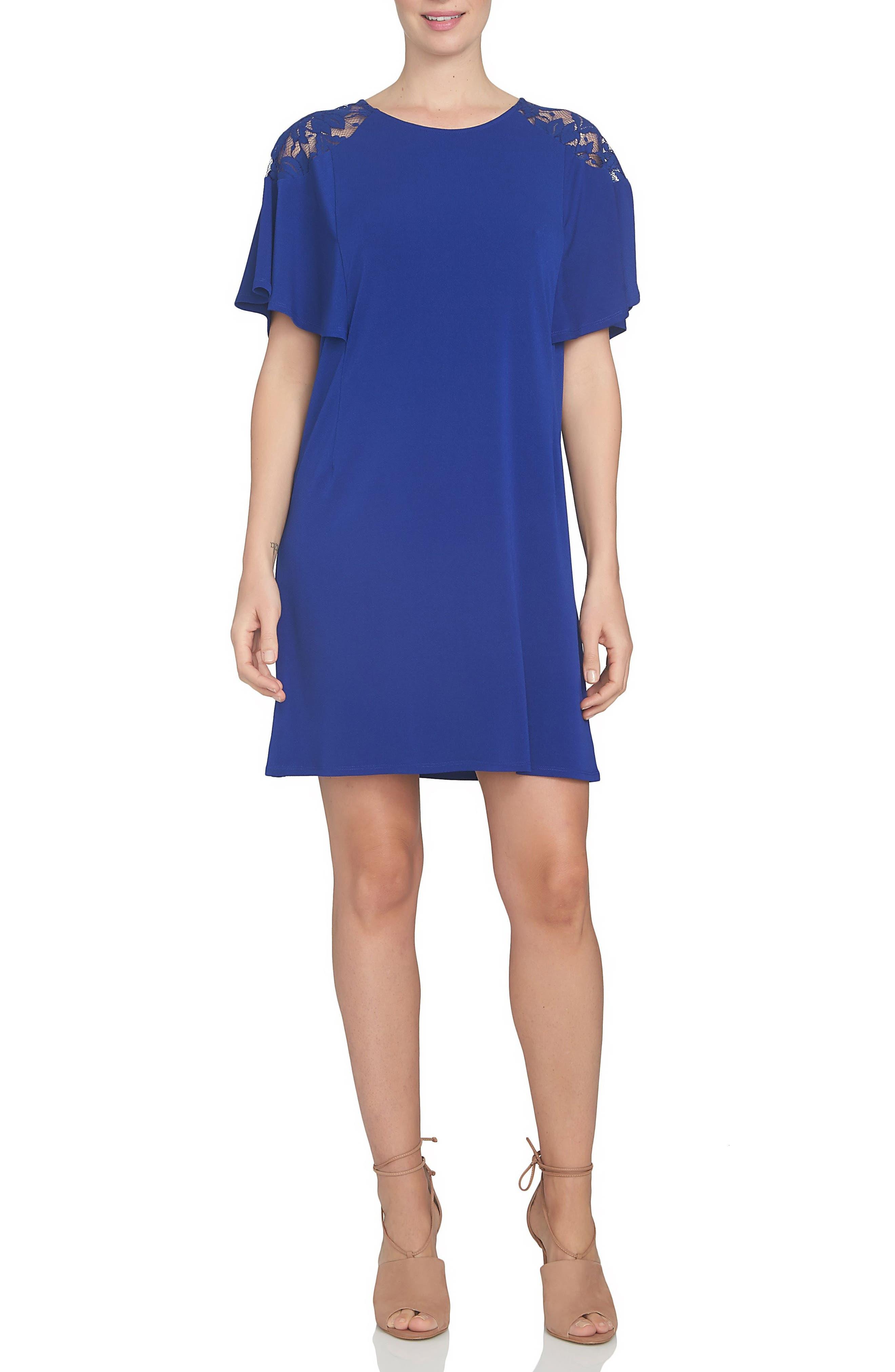 CeCe Lace Shoulder Knit A-Line Dress