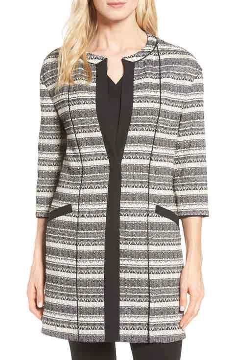 Anne Klein Long Stripe Tweed Jacket