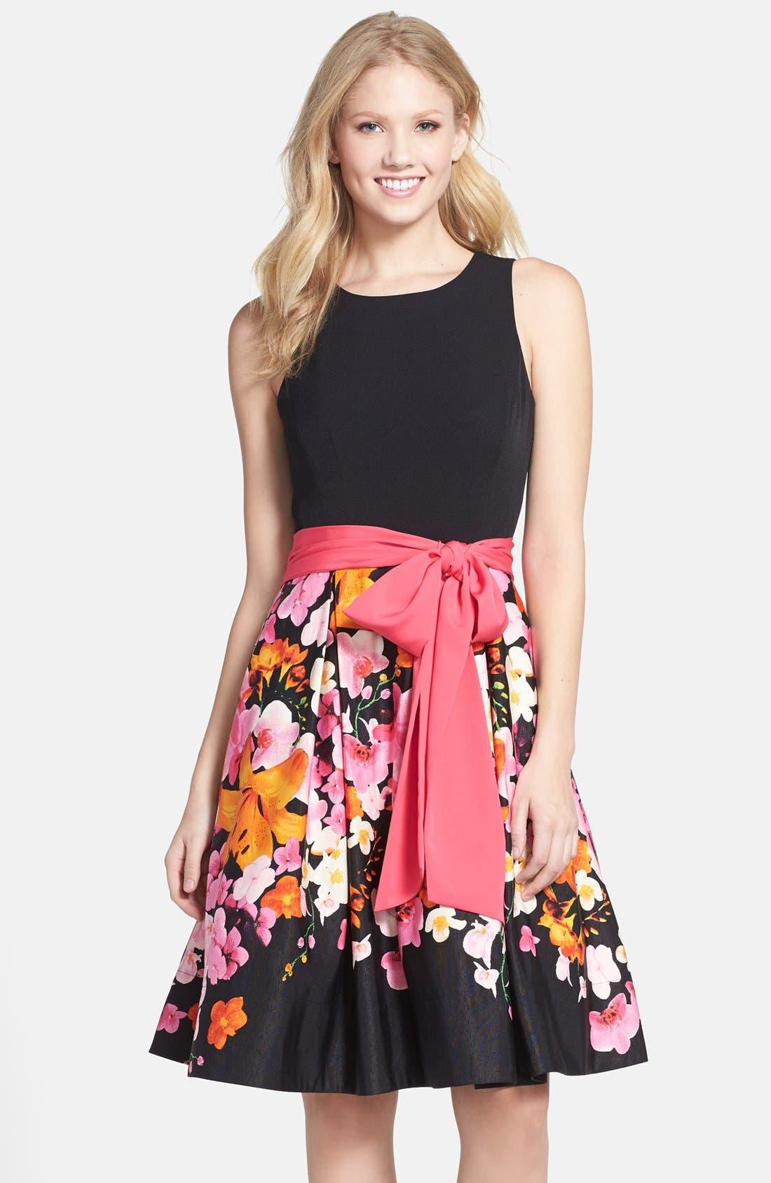 Main Image - Eliza J Floral Print Faille Fit & Flare Dress (Regular & Petite)