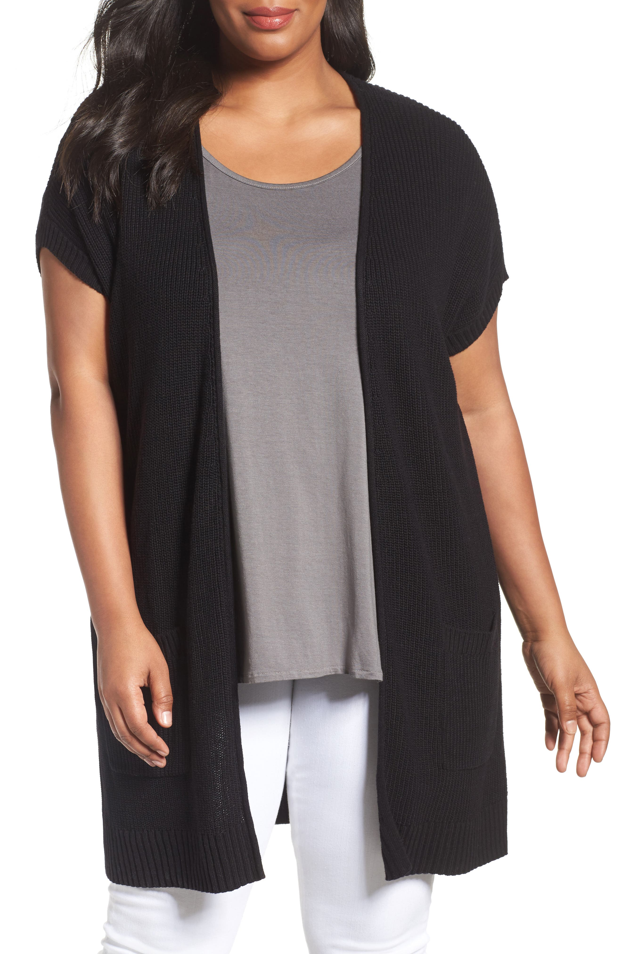 Caslon® Shaker Stitch Cardigan (Plus Size)
