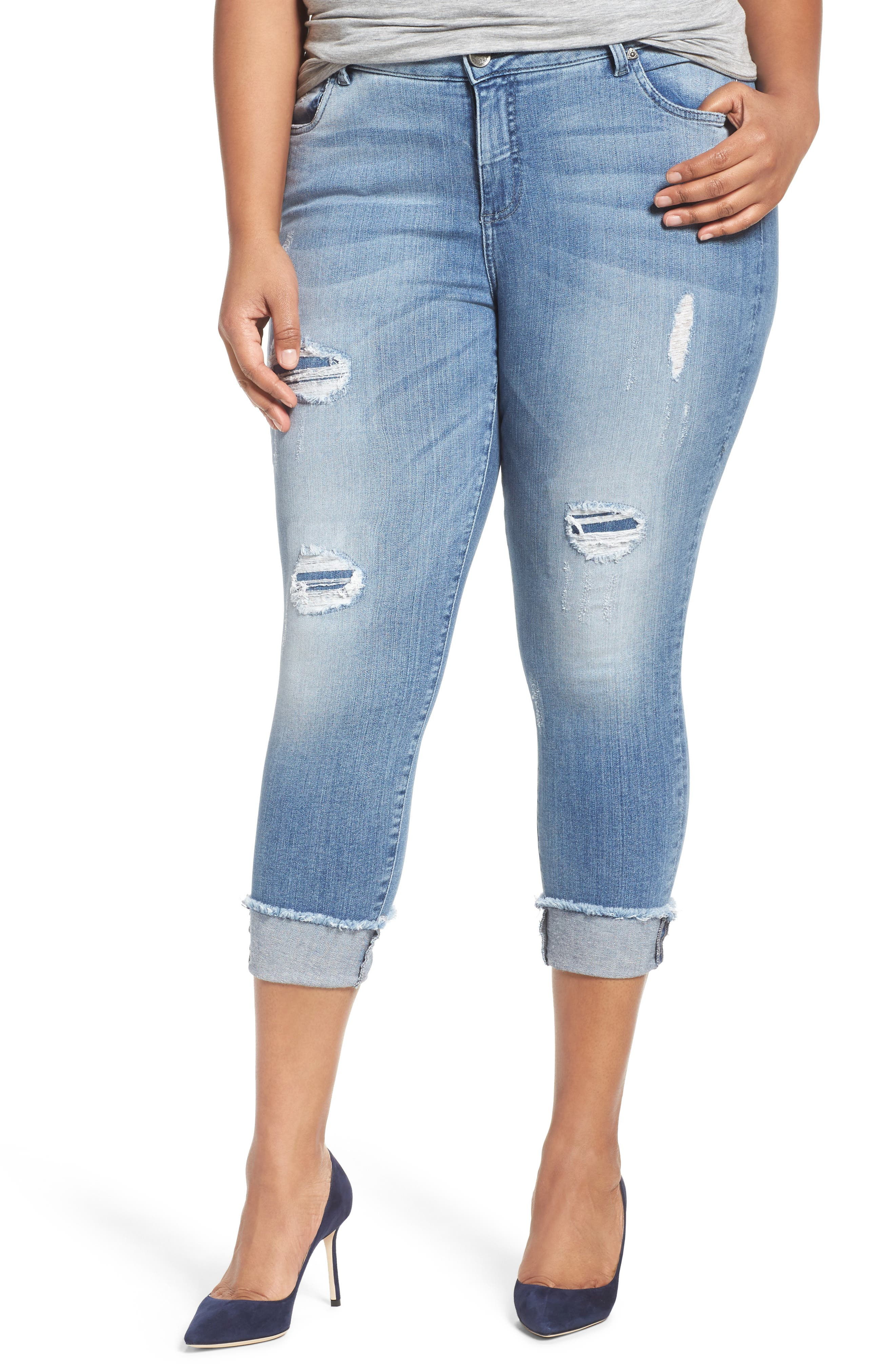 KUT from the Kloth Connie Frayed Hem Crop Skinny Jeans (King) (Plus Size)