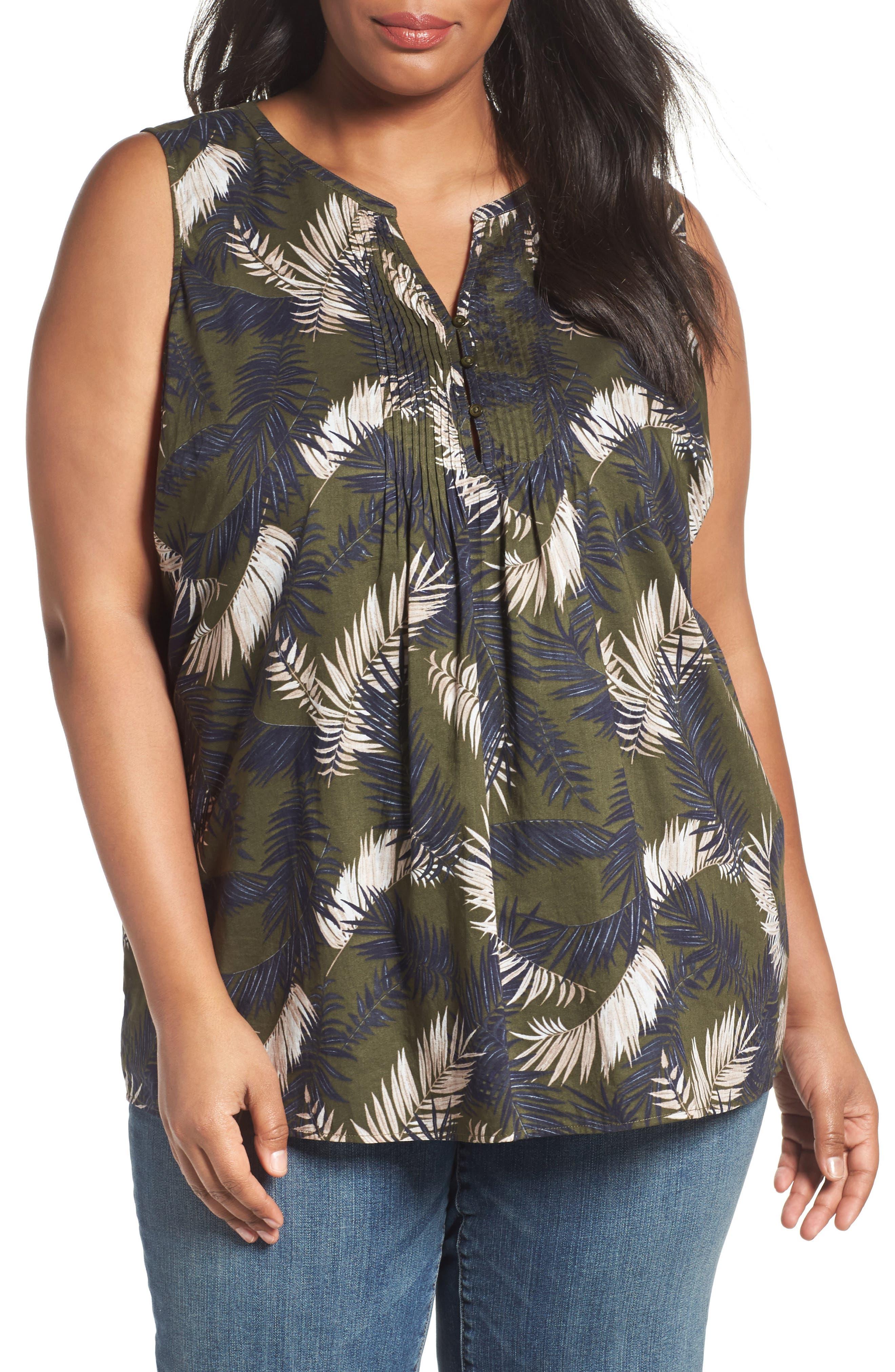 Caslon® Print Cotton Pintuck Pleat Top (Plus Size)