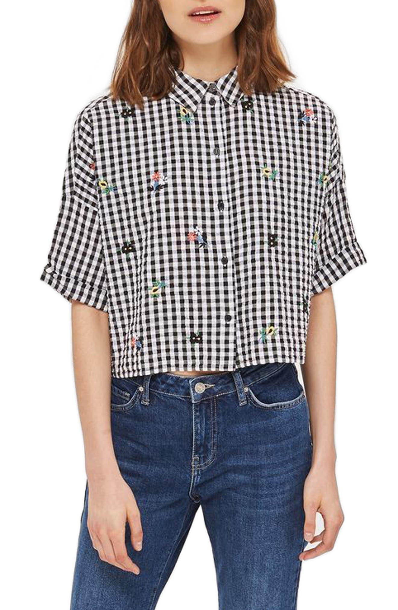 Topshop Kady Embroidered Gingham Shirt (Regular & Petite)