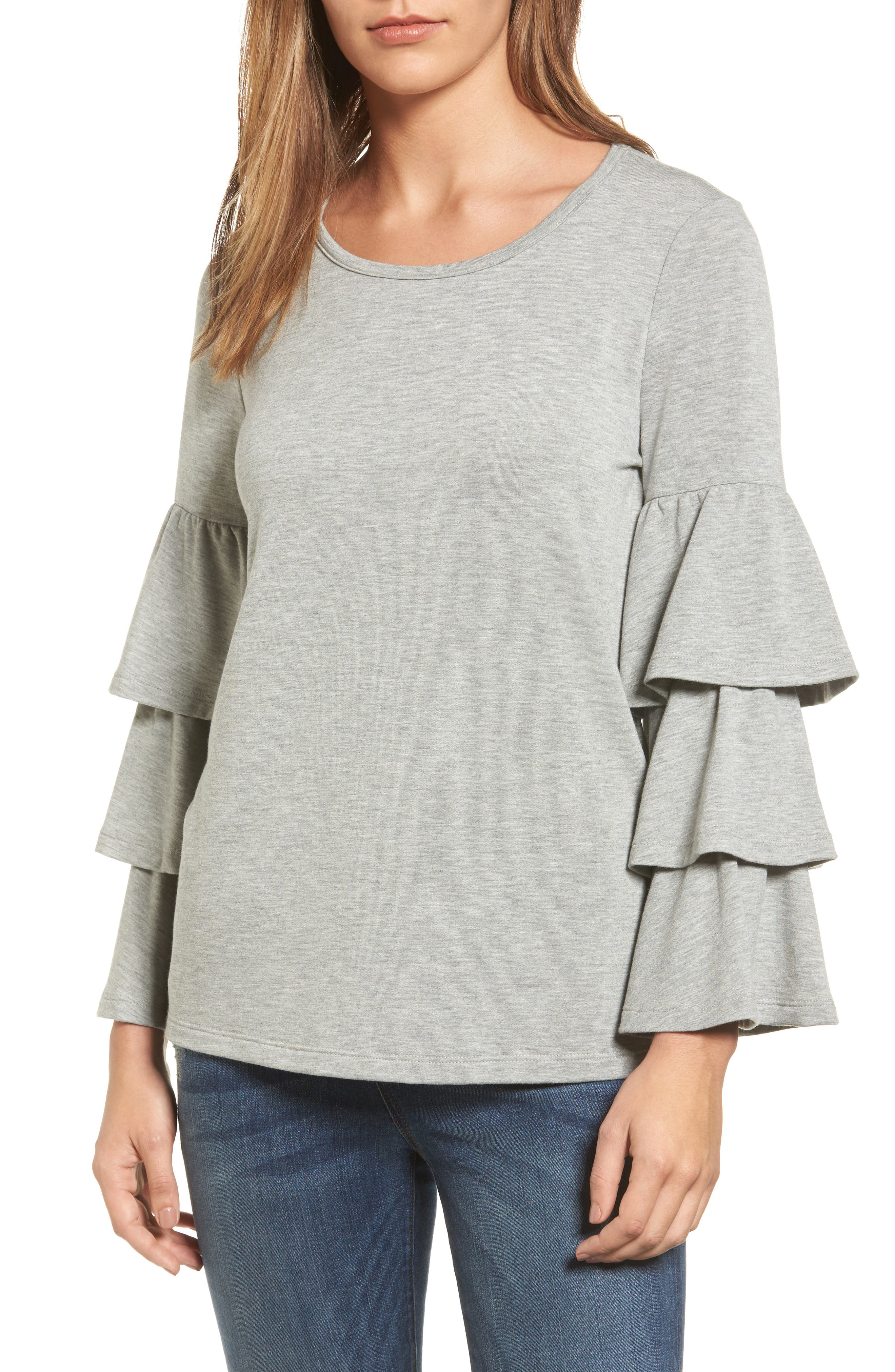 Pleione Tiered Bell Sleeve Knit Top (Regular & Petite)