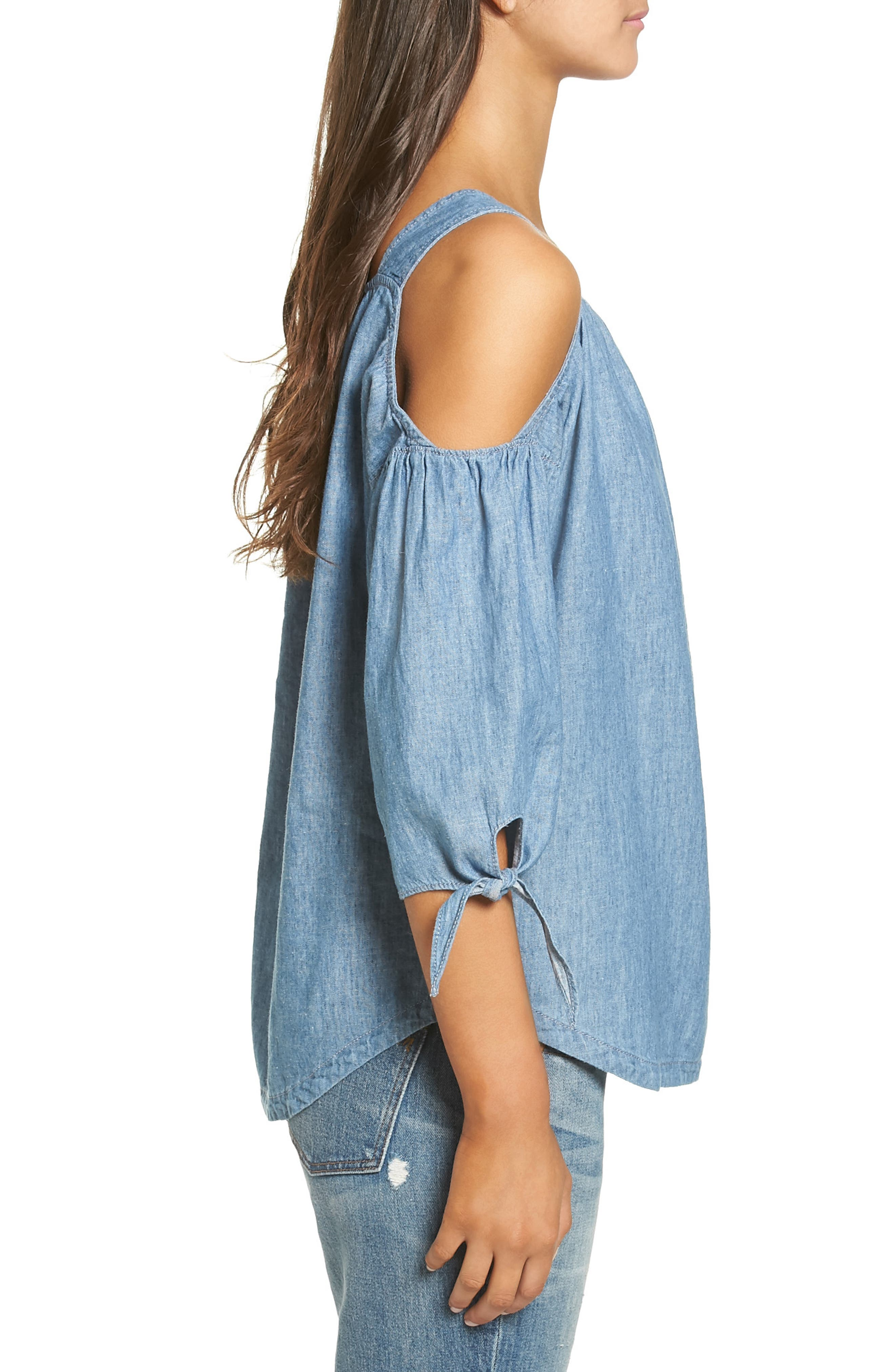 Alternate Image 3  - Madewell Chambray Cold Shoulder Top