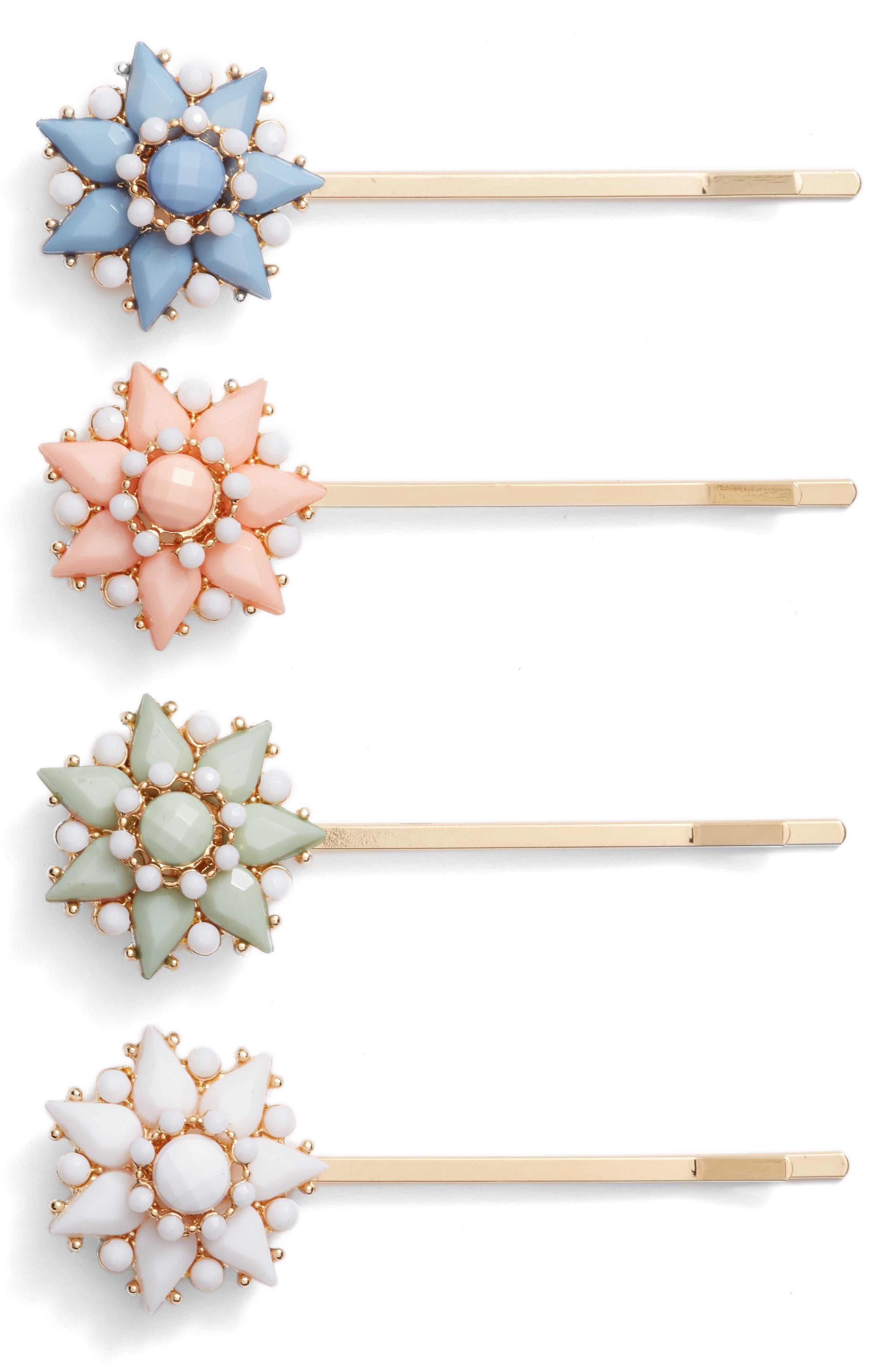 Cara 4-Pack Crystal Flower Bobby Pin