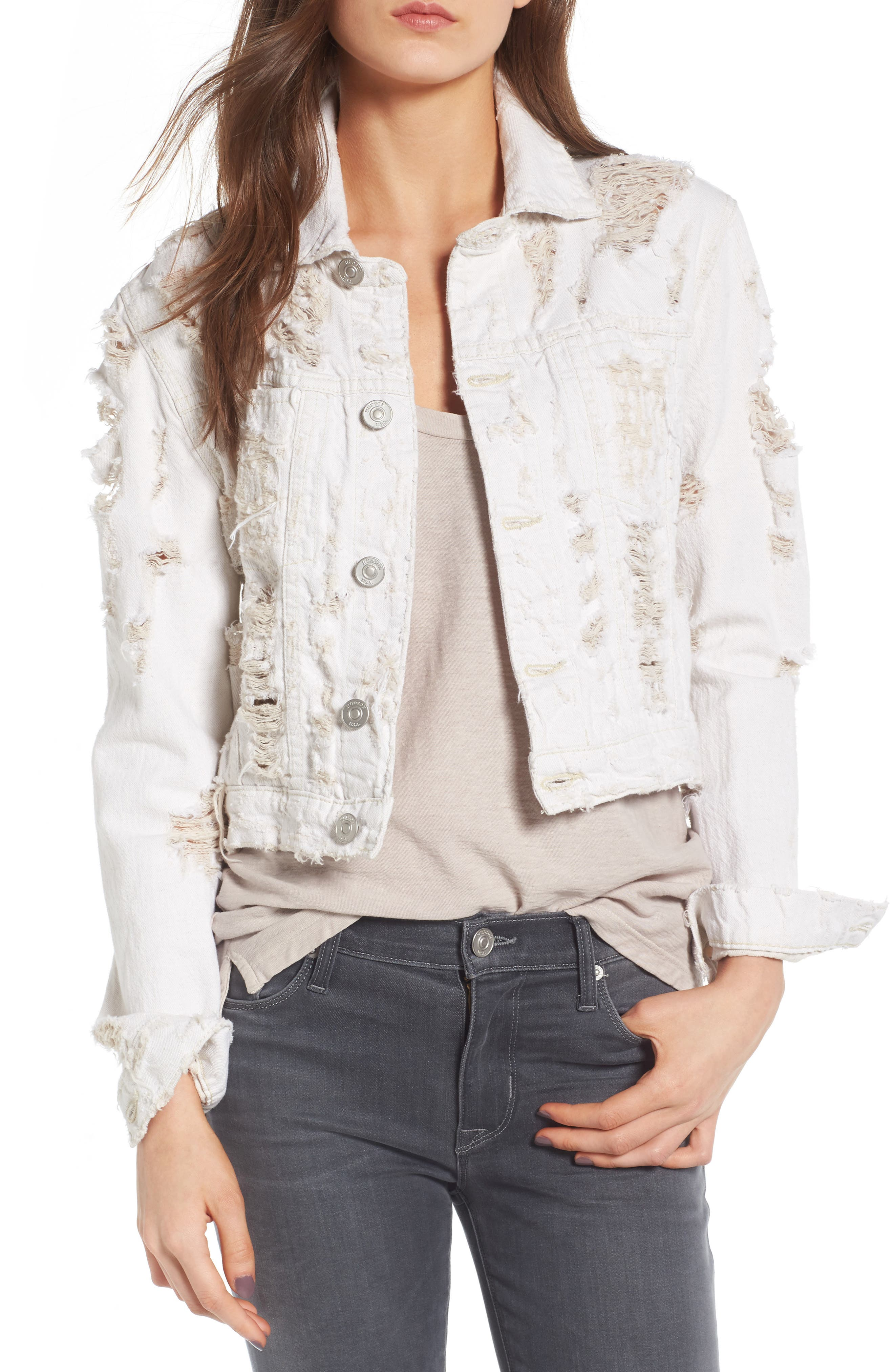 Hudson Jeans Garrison Ripped Crop Denim Jacket